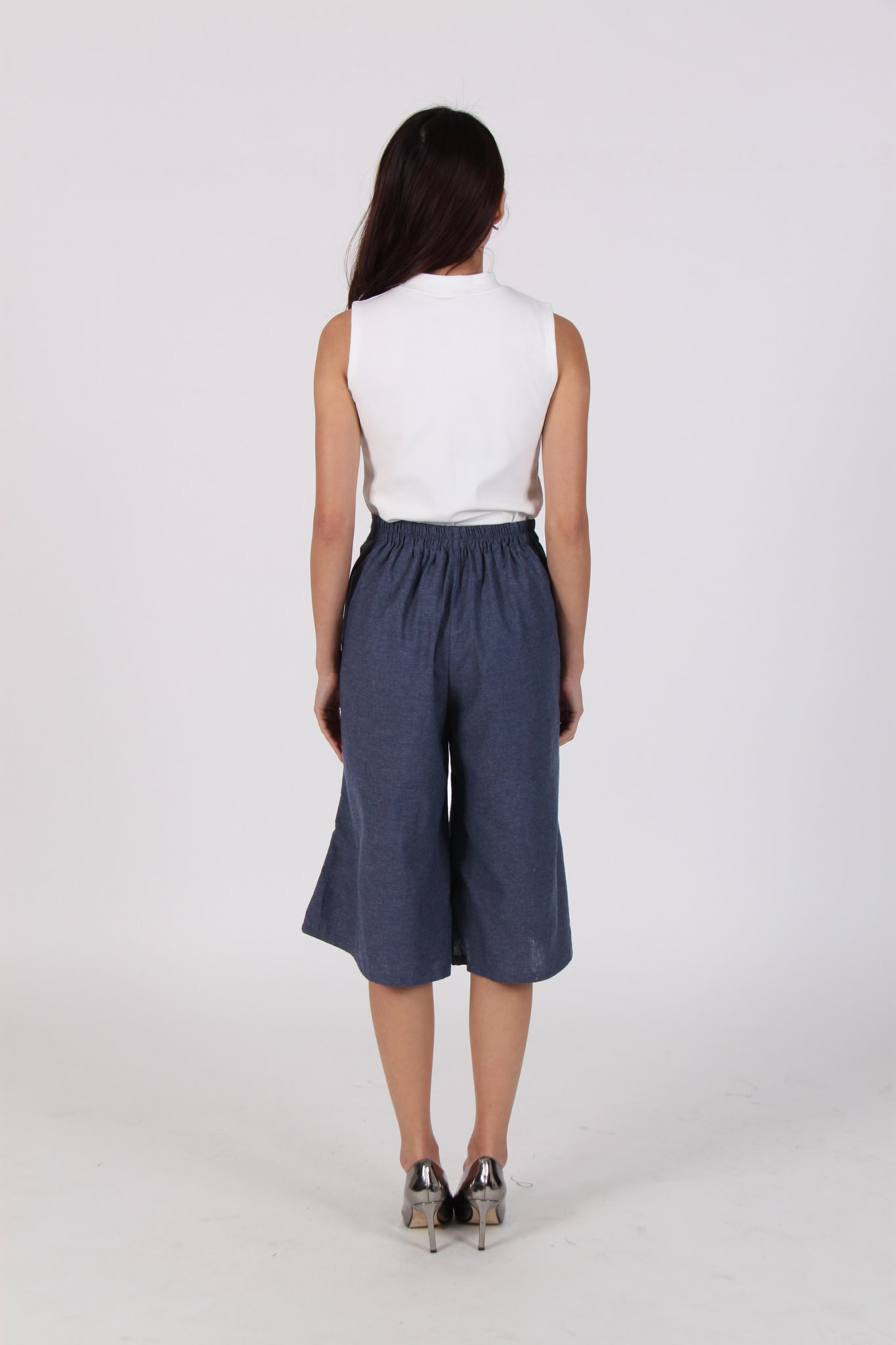 Ribbon Cropped Culottes In Navy Blue