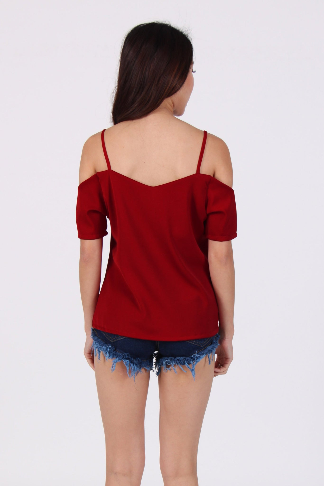 Heart Cold Shoulder Spag Top in Maroon