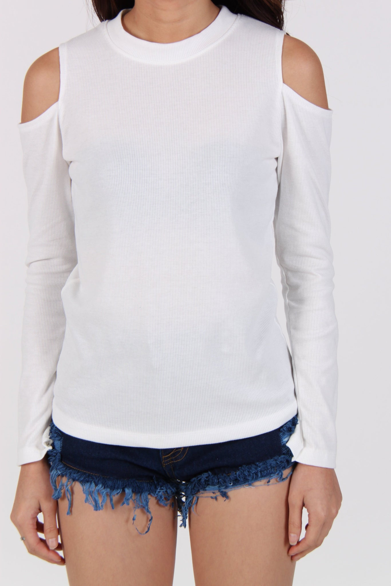 Comfy Cold Shoulder Top in White
