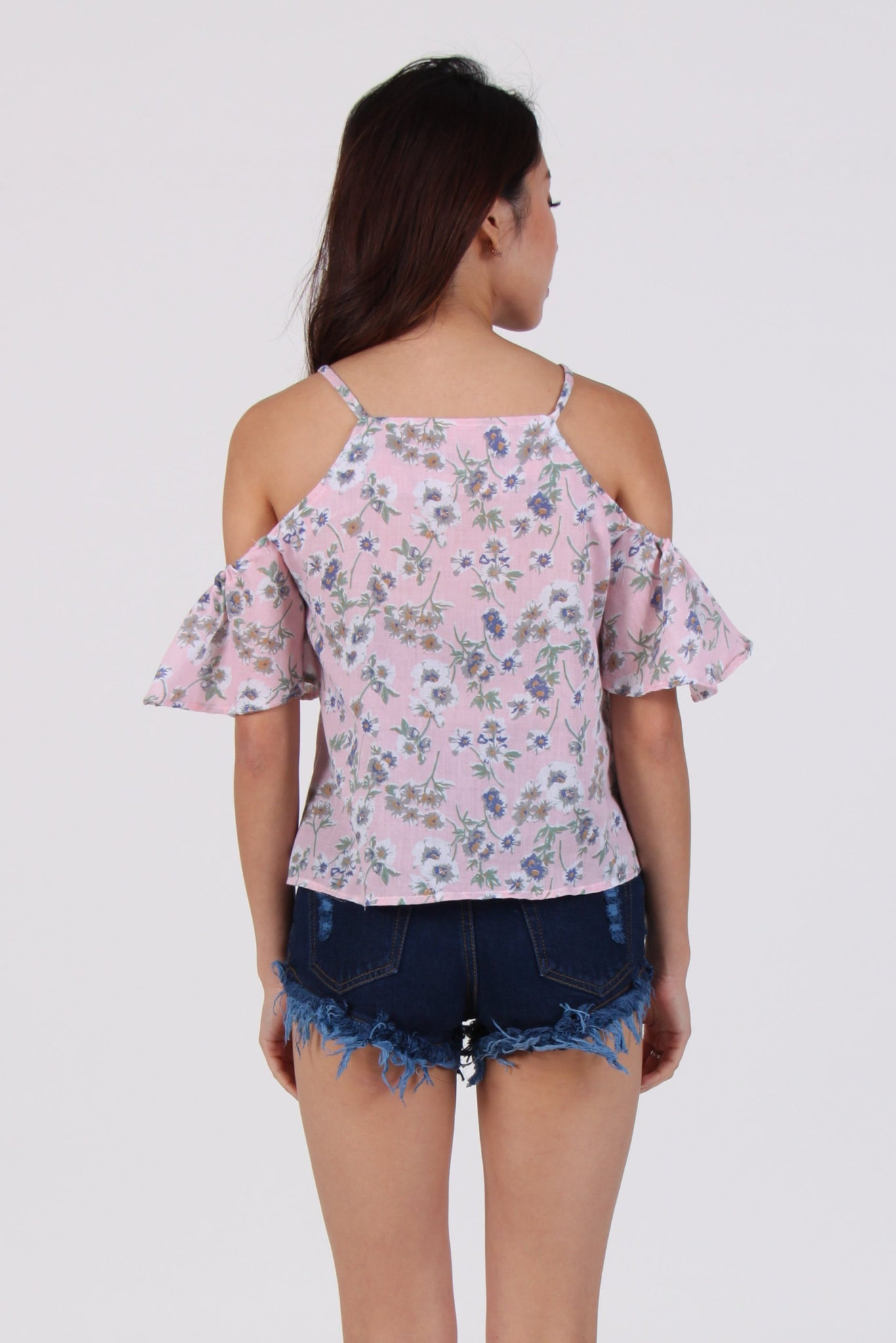 White Floral Cold-Shoulder Top In Pink