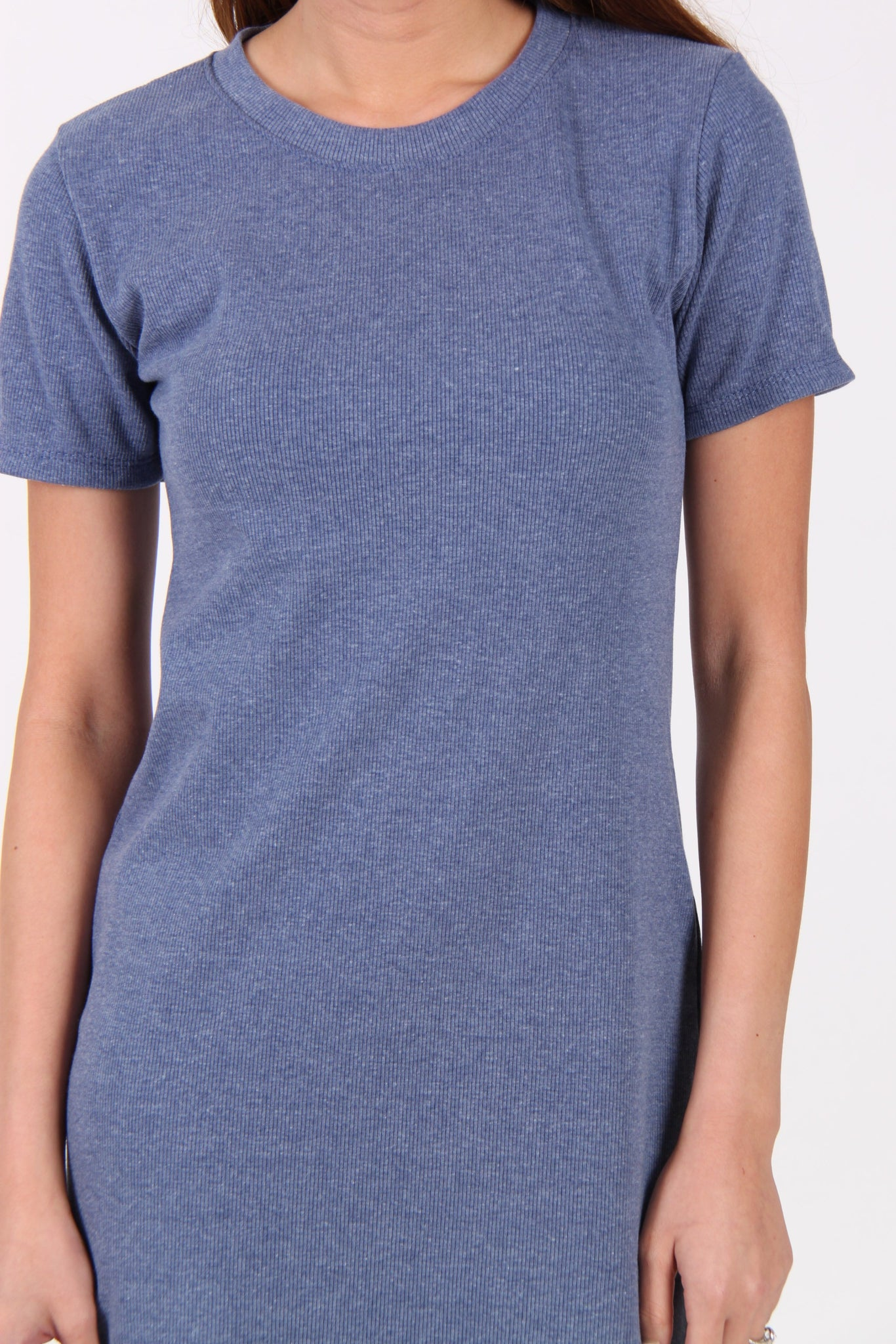 Basic Comfy Tee Dress in Blue