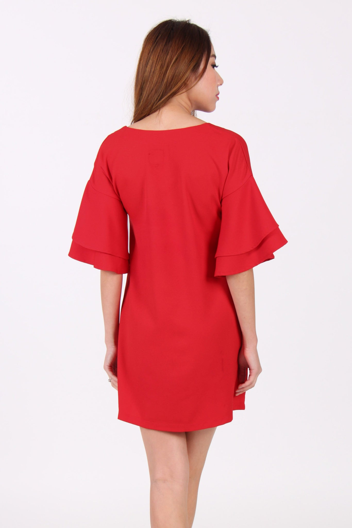 Layered Trumpet Sleeves Shift Dress in Red