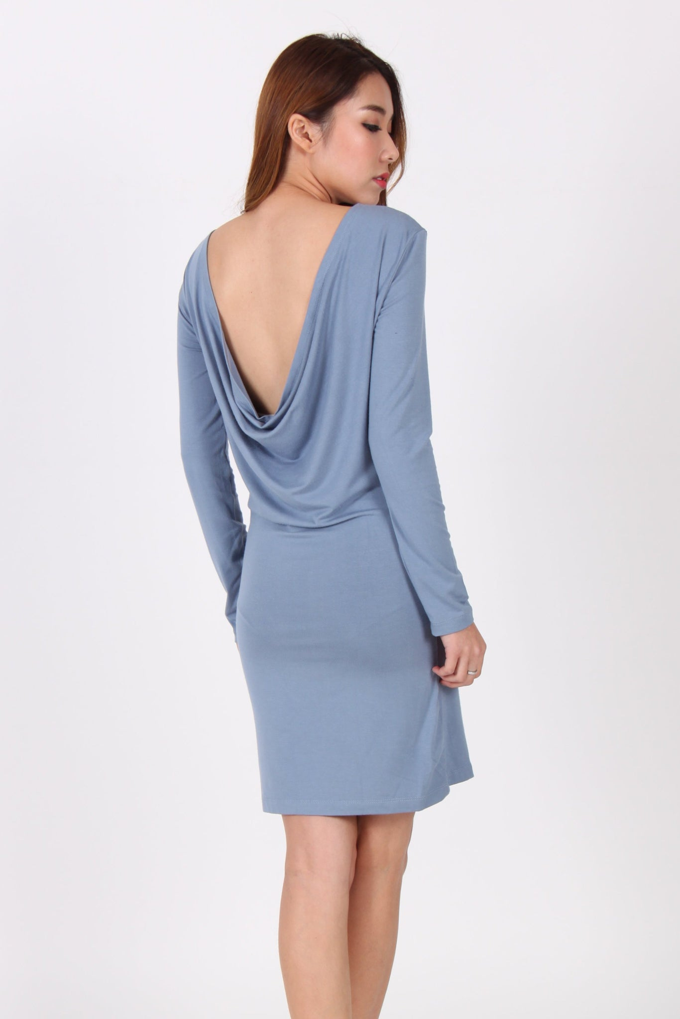 Drape Back Long Sleeve Dress in Blue