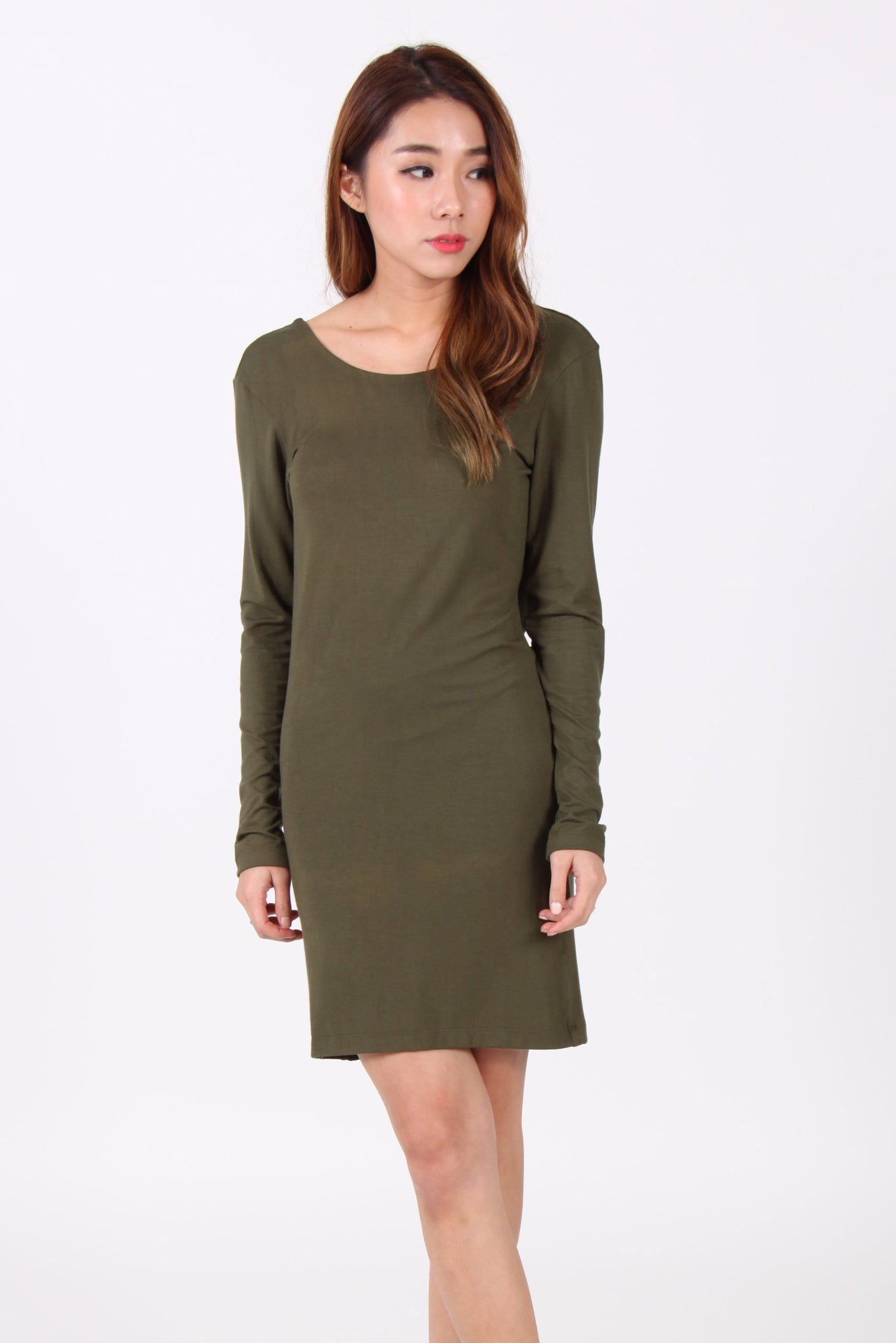 Drape Back Long Sleeve Dress in Olive