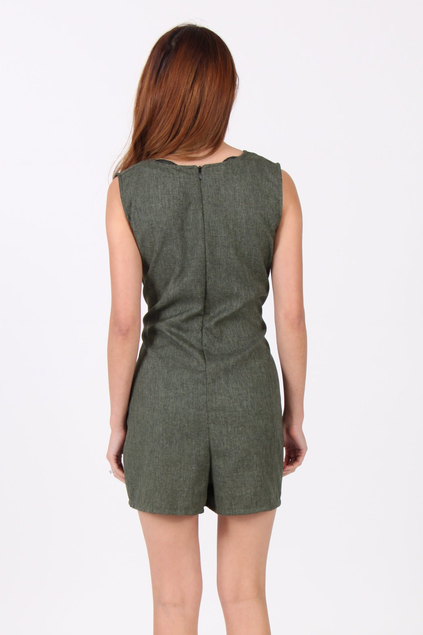 Sleeveless Octopus Romper in Seaweed Green