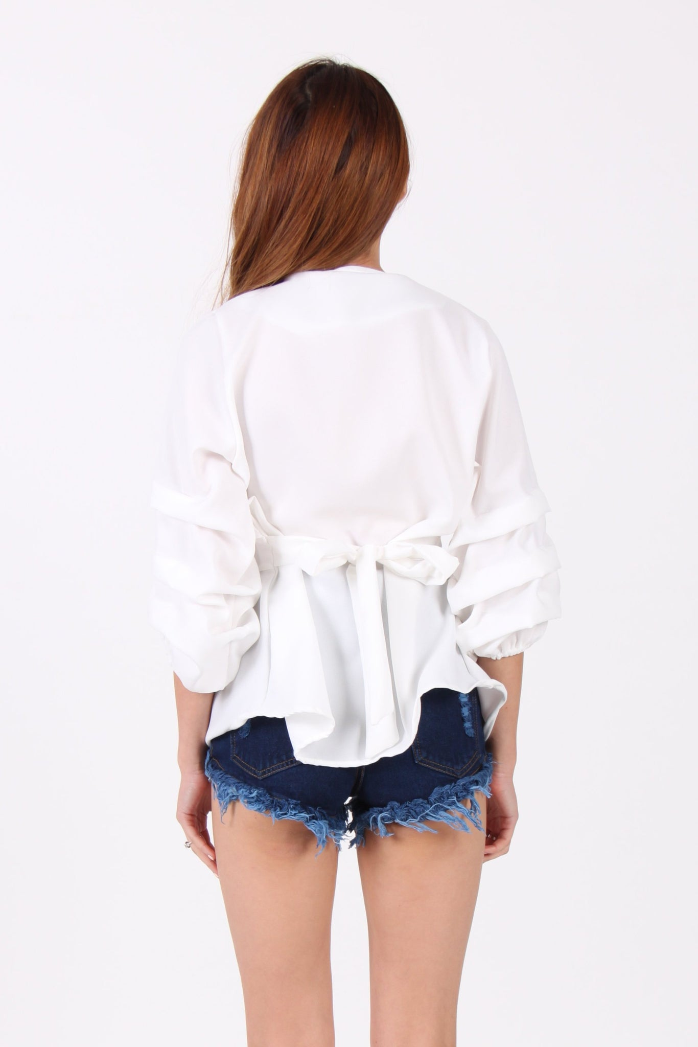 Ribbon Back Wrap Front Balloon Sleeve Top in White