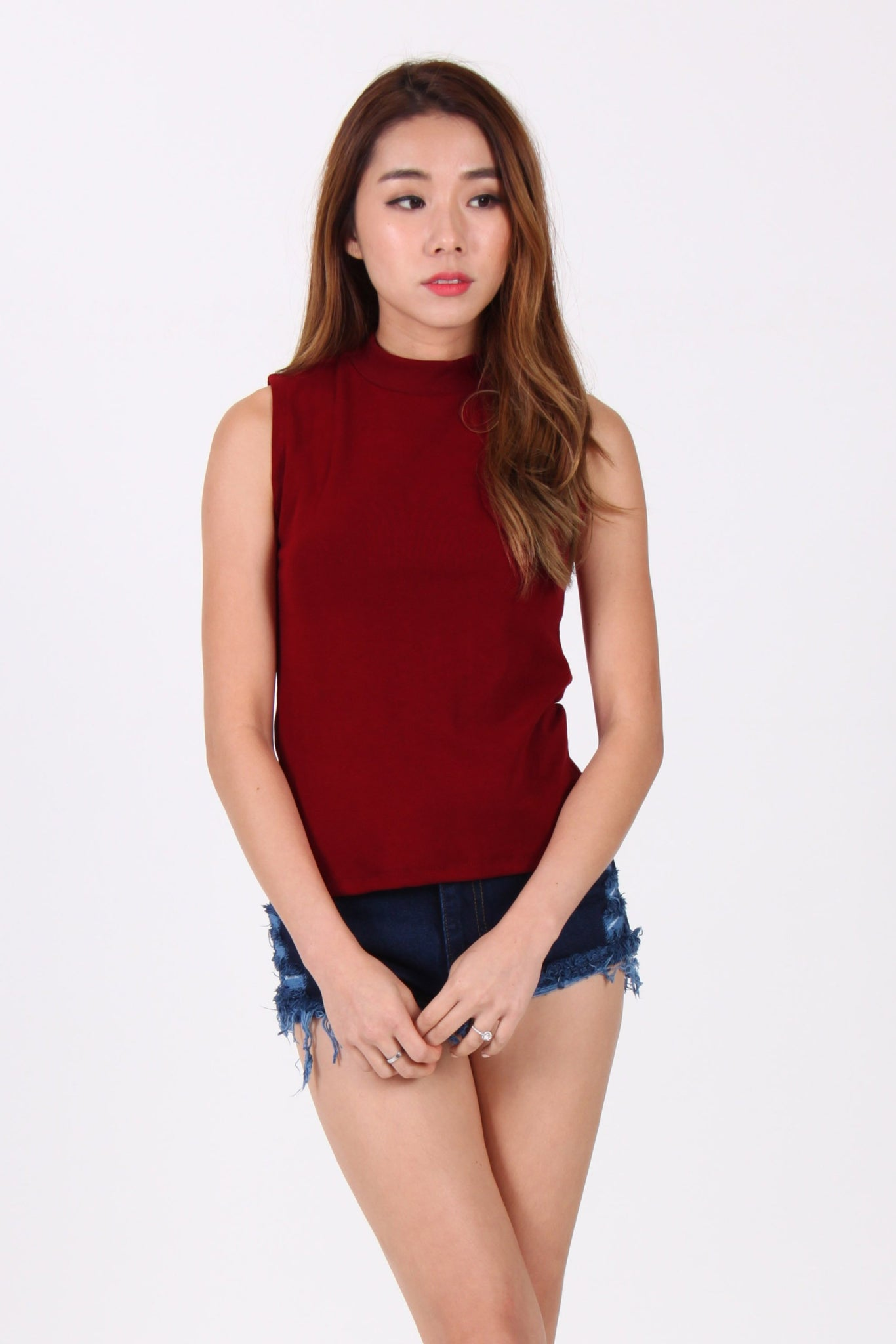 Basic Premium Cotton Top In Maroon
