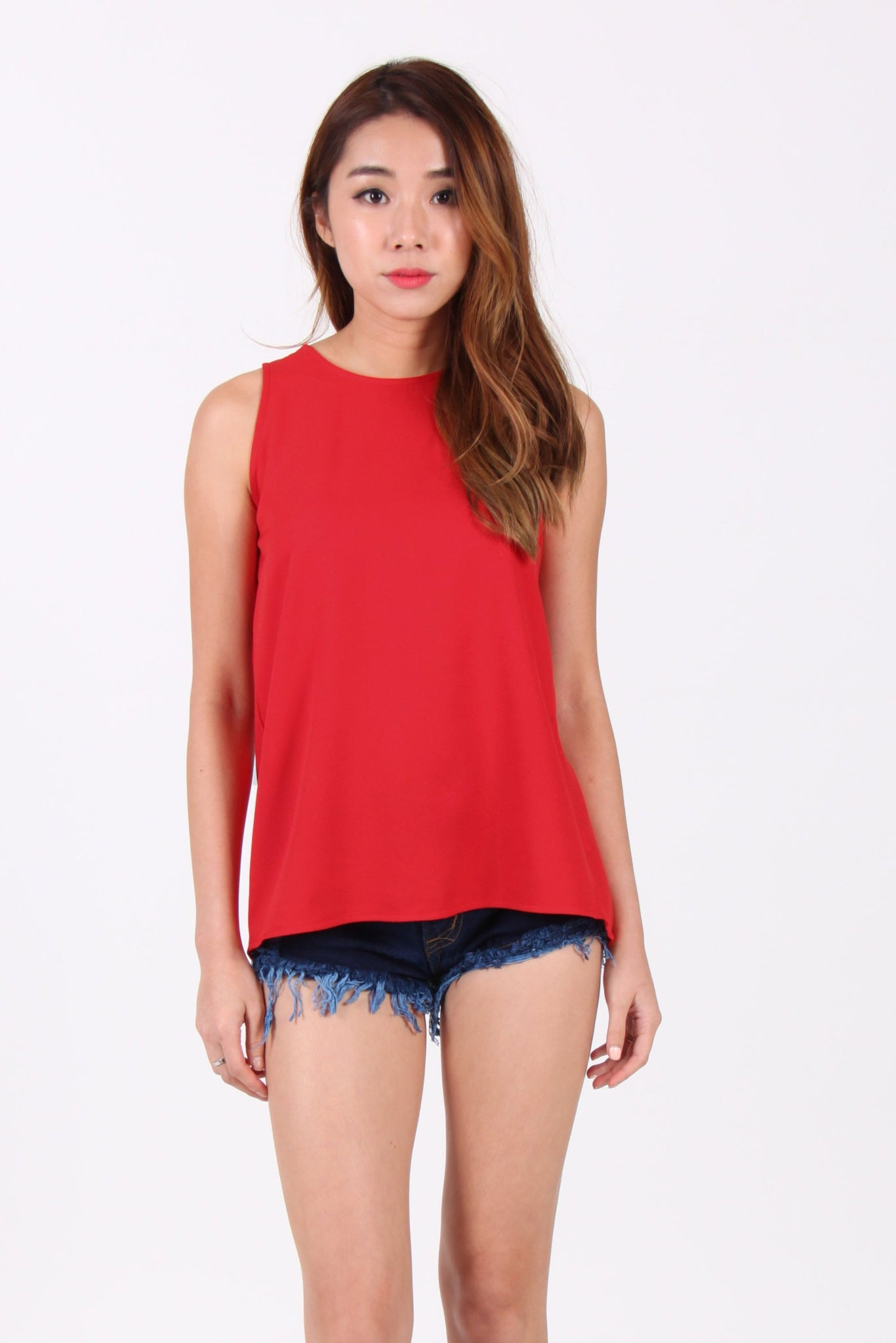 Contrast Ribbon Back Cut-Out Top in Red