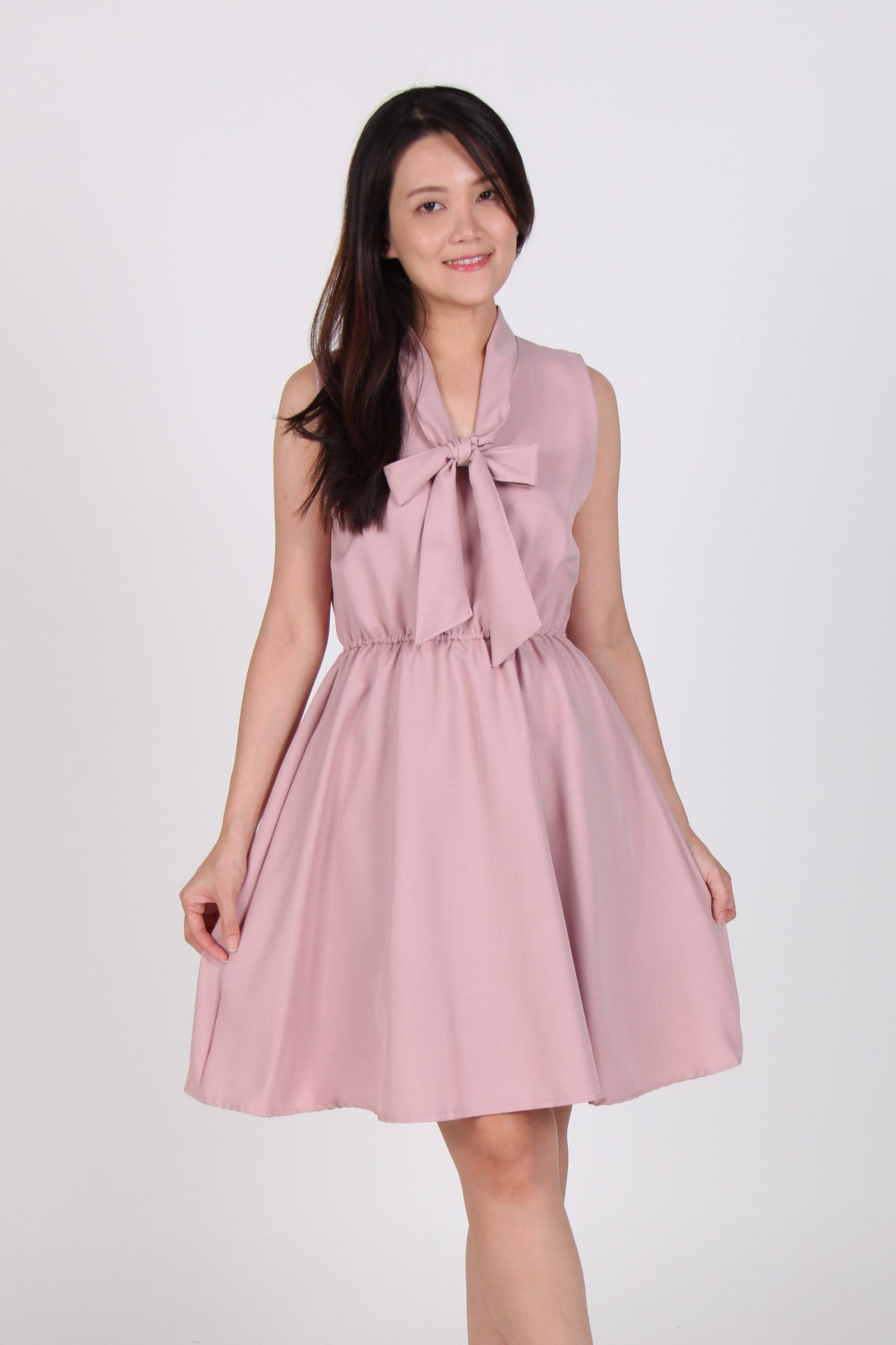 Collar Tie Skater Dress in Pink