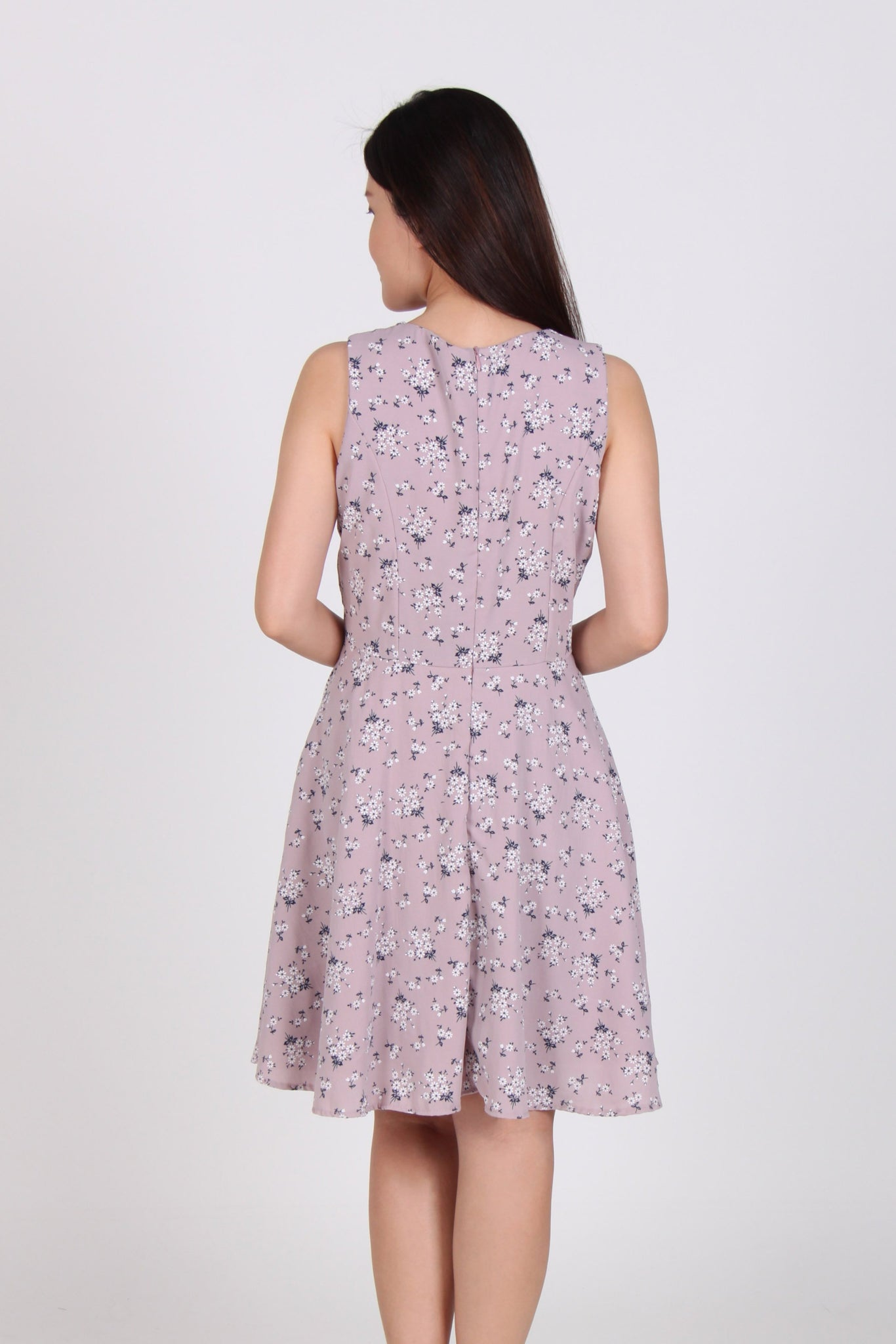 Sleeveless Floral Skater Dress in Pink