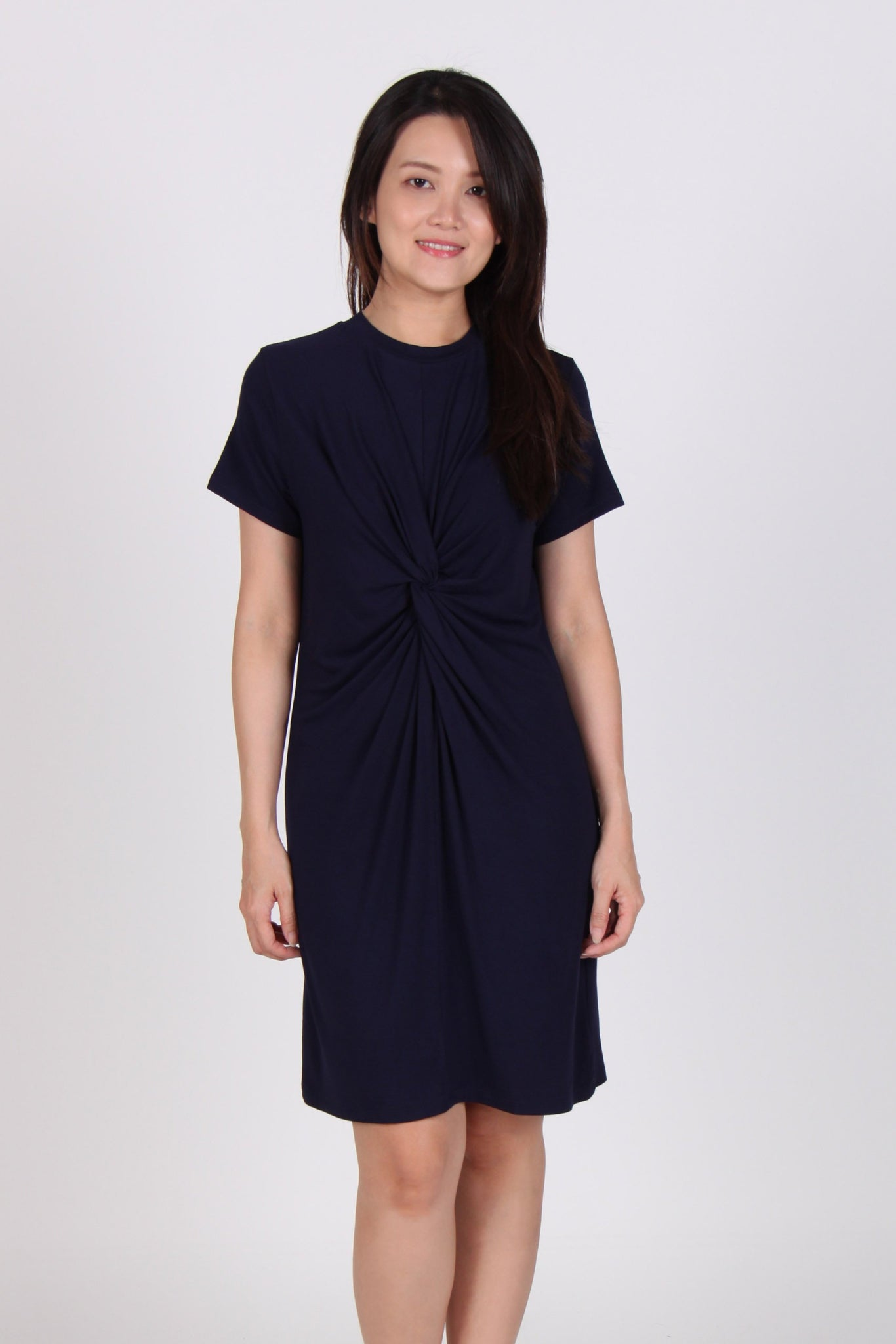 Basic Front Loop Cotton Tee Dress in Navy Blue