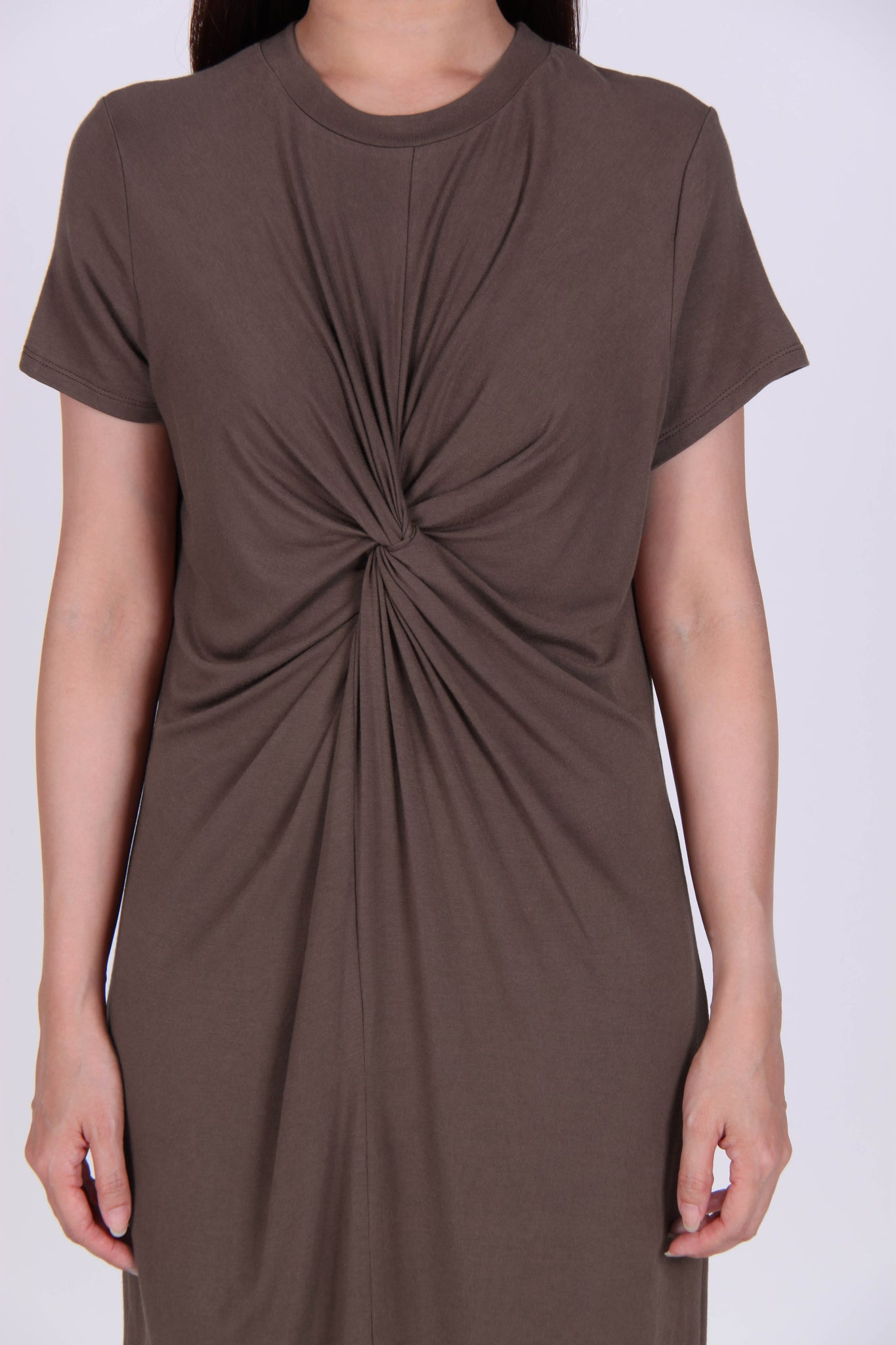 Basic Front Loop Cotton Tee Dress in Brown