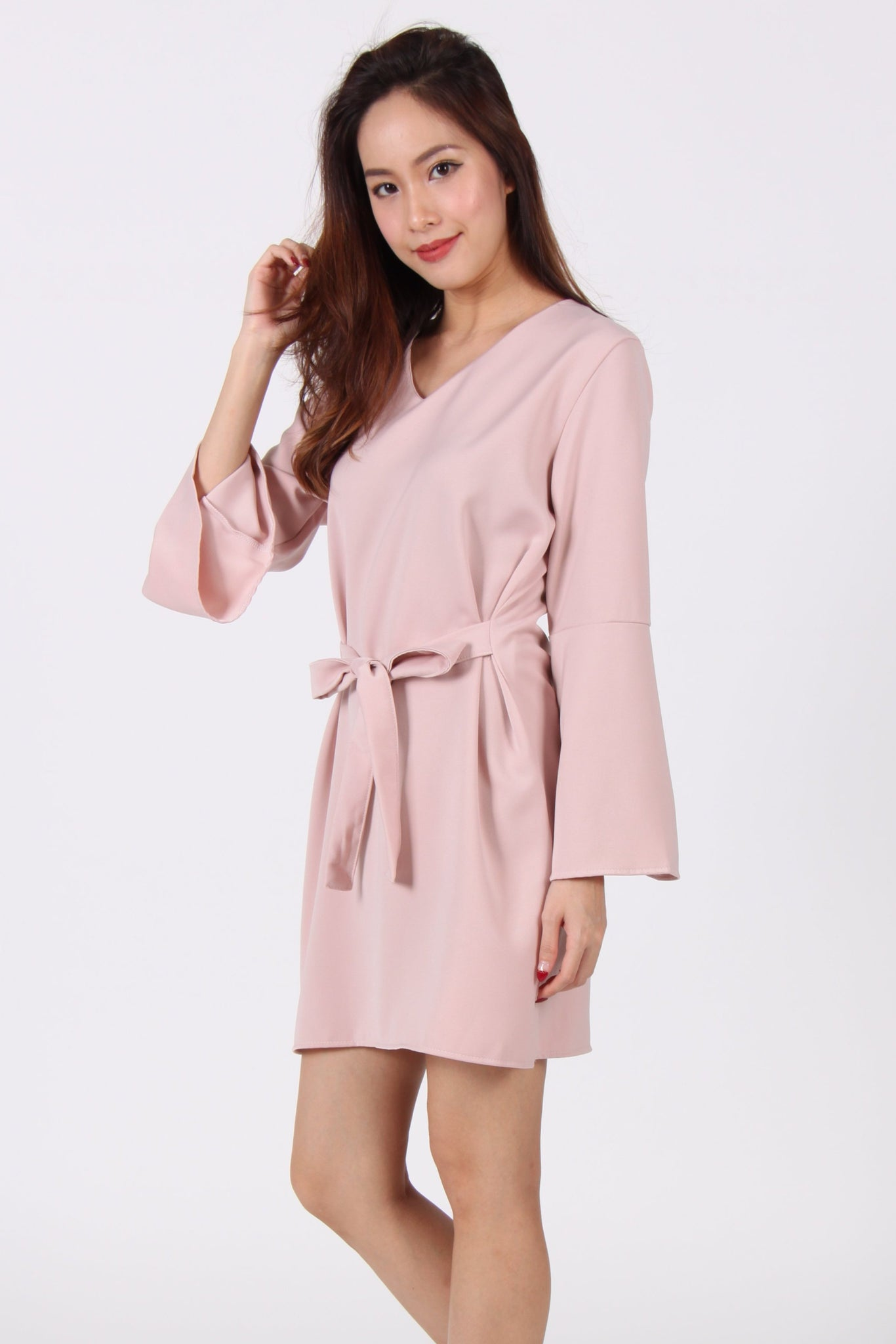 Bell Sleeve Ribbon Shift Dress in Beige