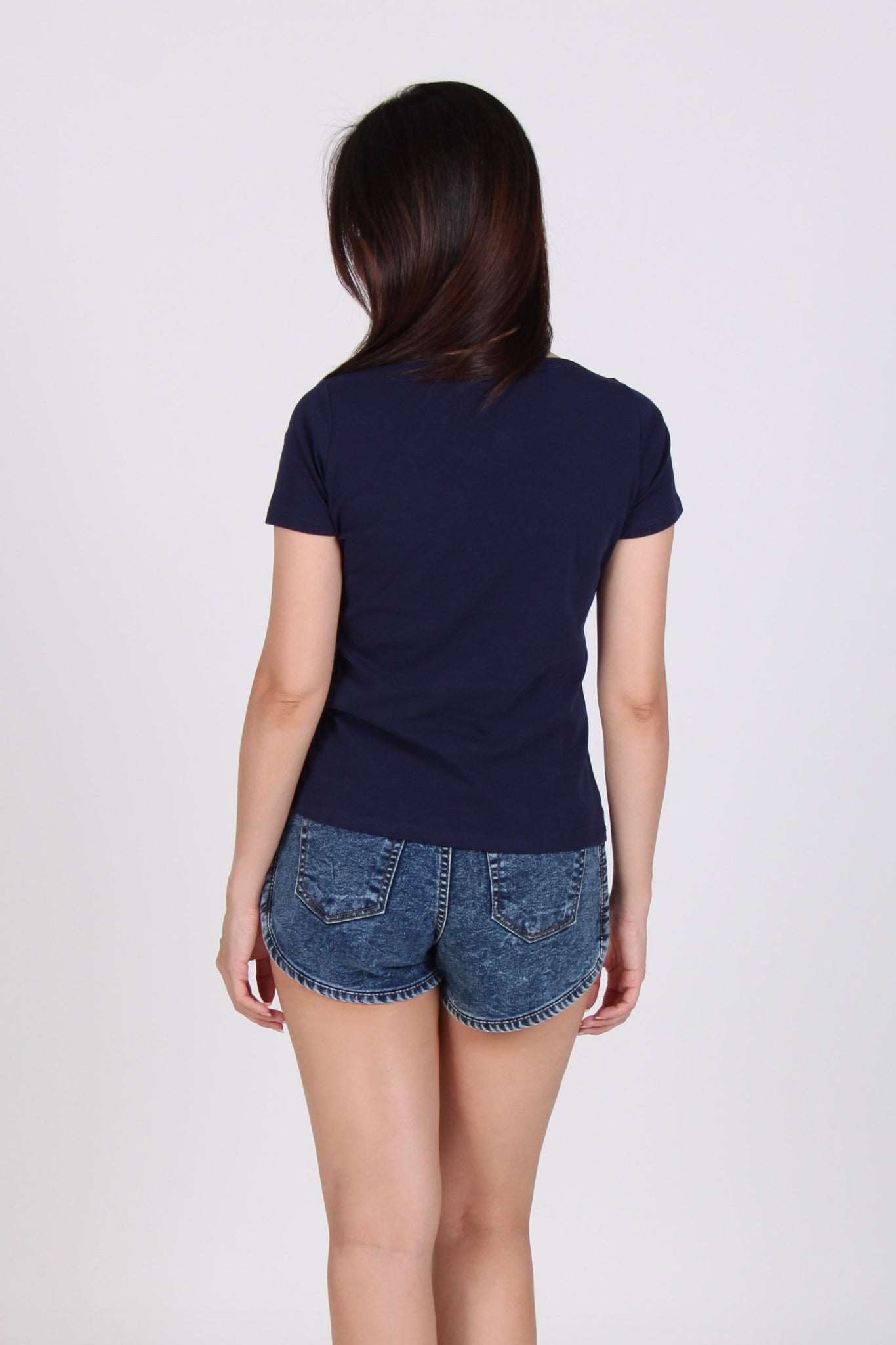 Basic Boat Neck Short Sleeve Cotton Top In Navy Blue