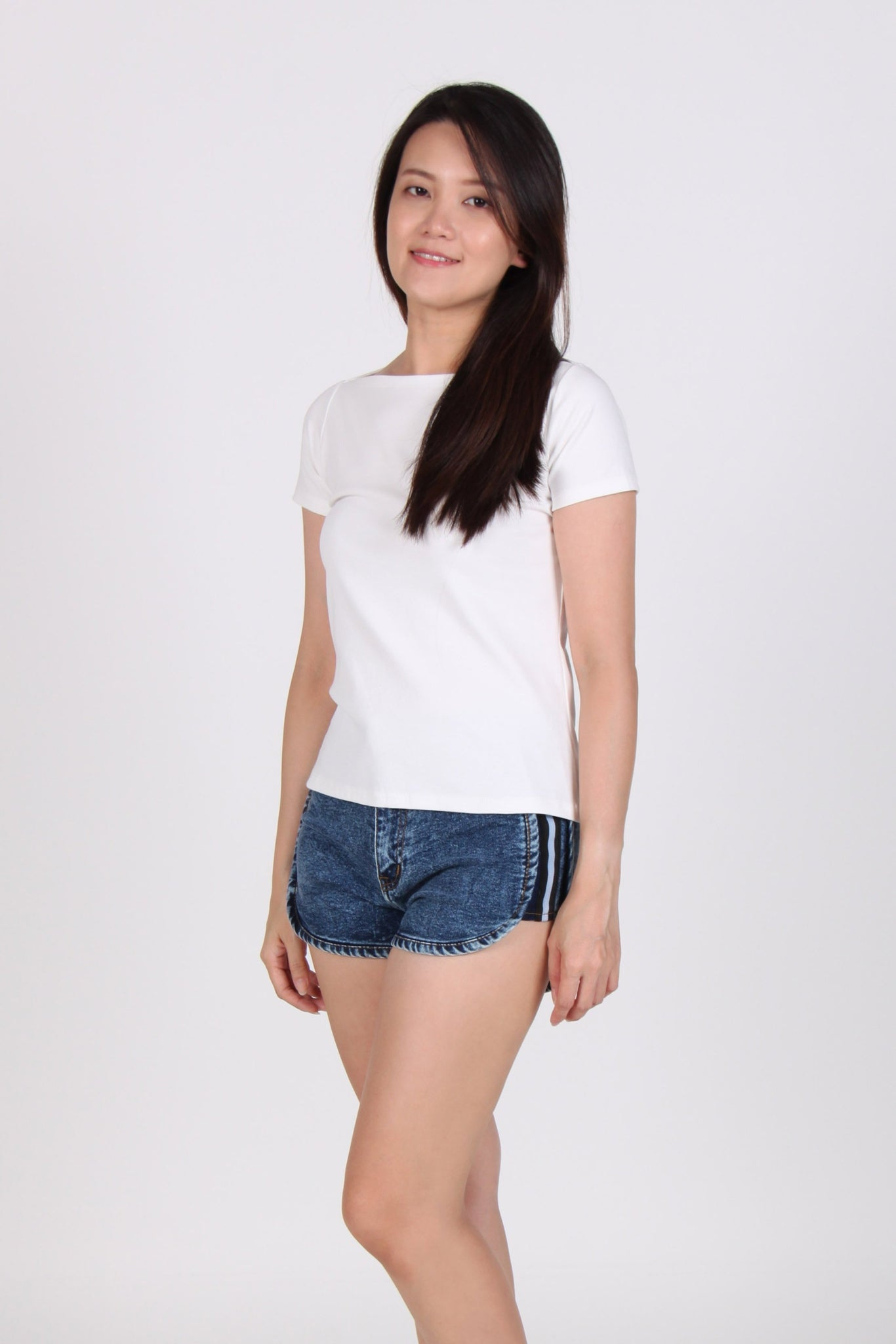 Basic Boat Neck Short Sleeve Cotton Top In White