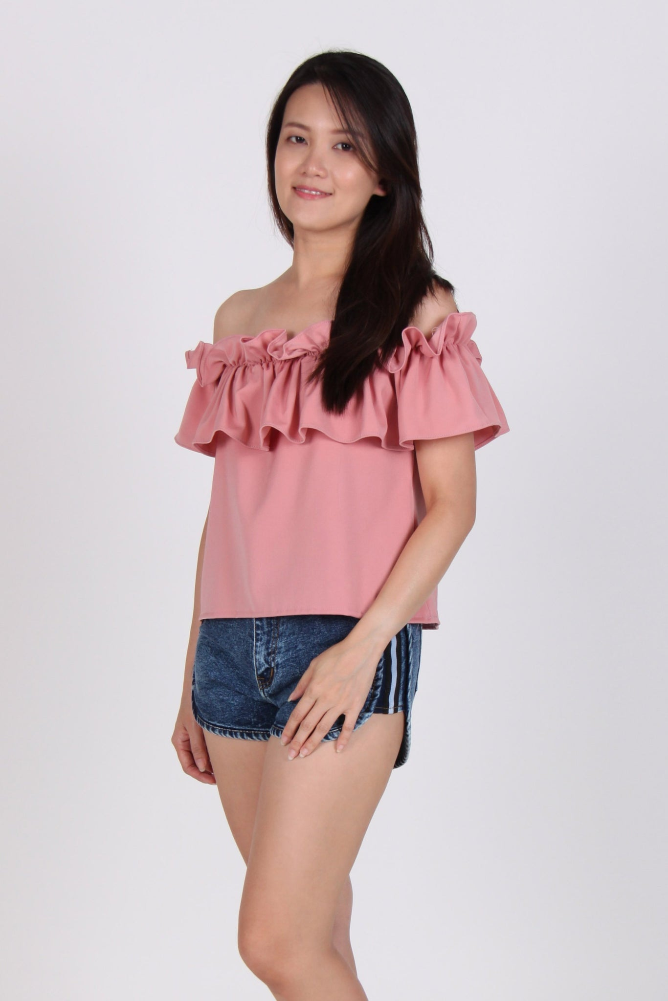 Ruffles Off-Shoulder Top in Pink