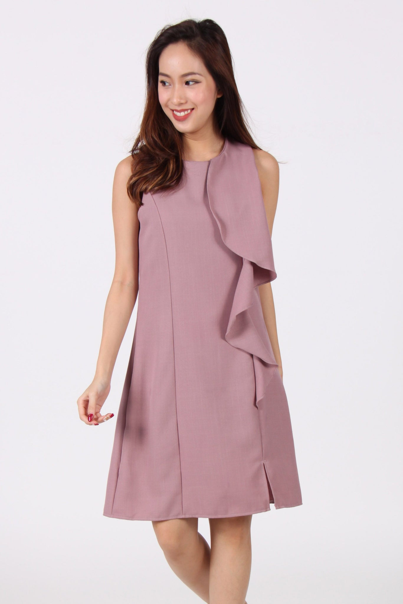 Ruffles Down Shift Dress in Pink