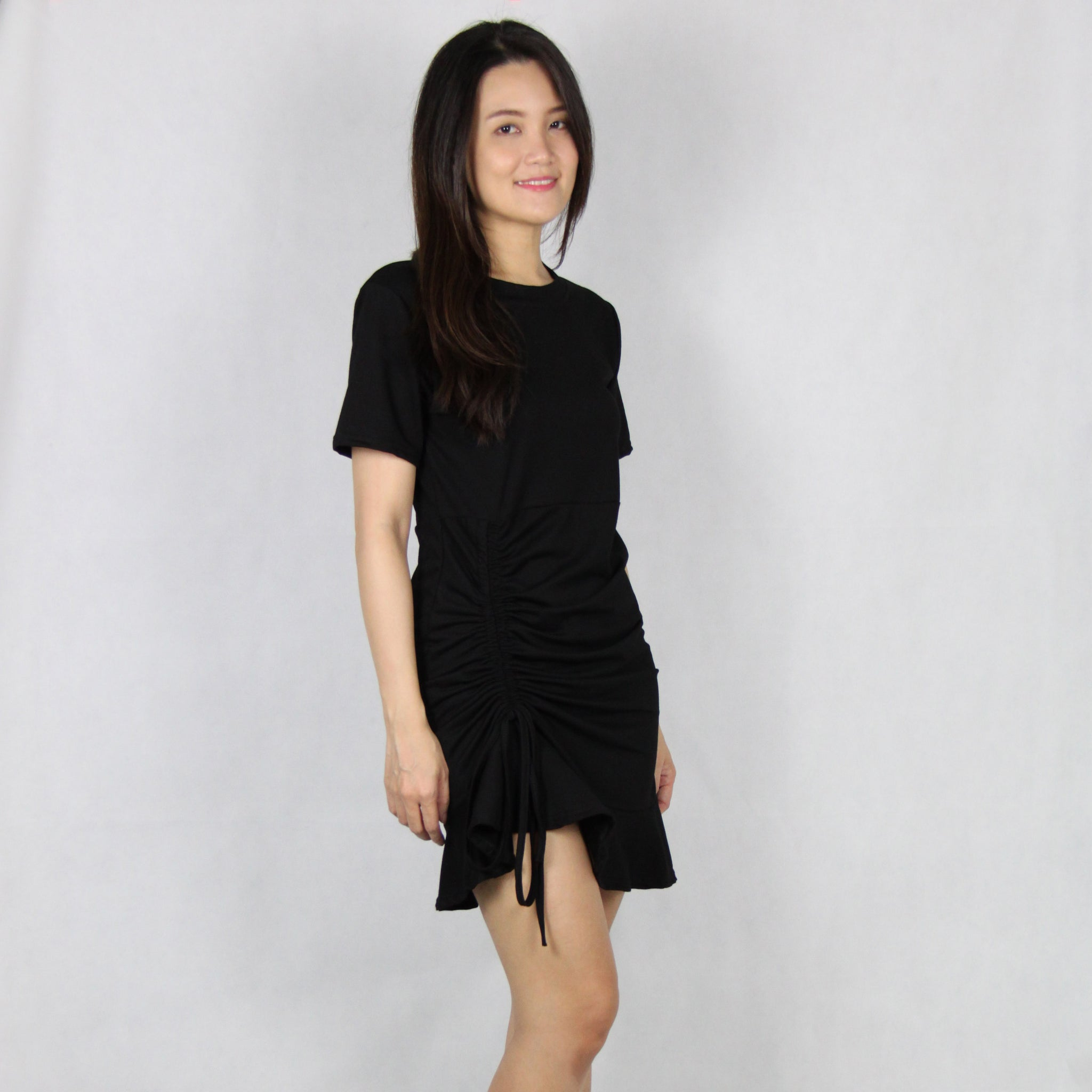 Basic Front Side Drawstring Cotton Mini Dress in Black
