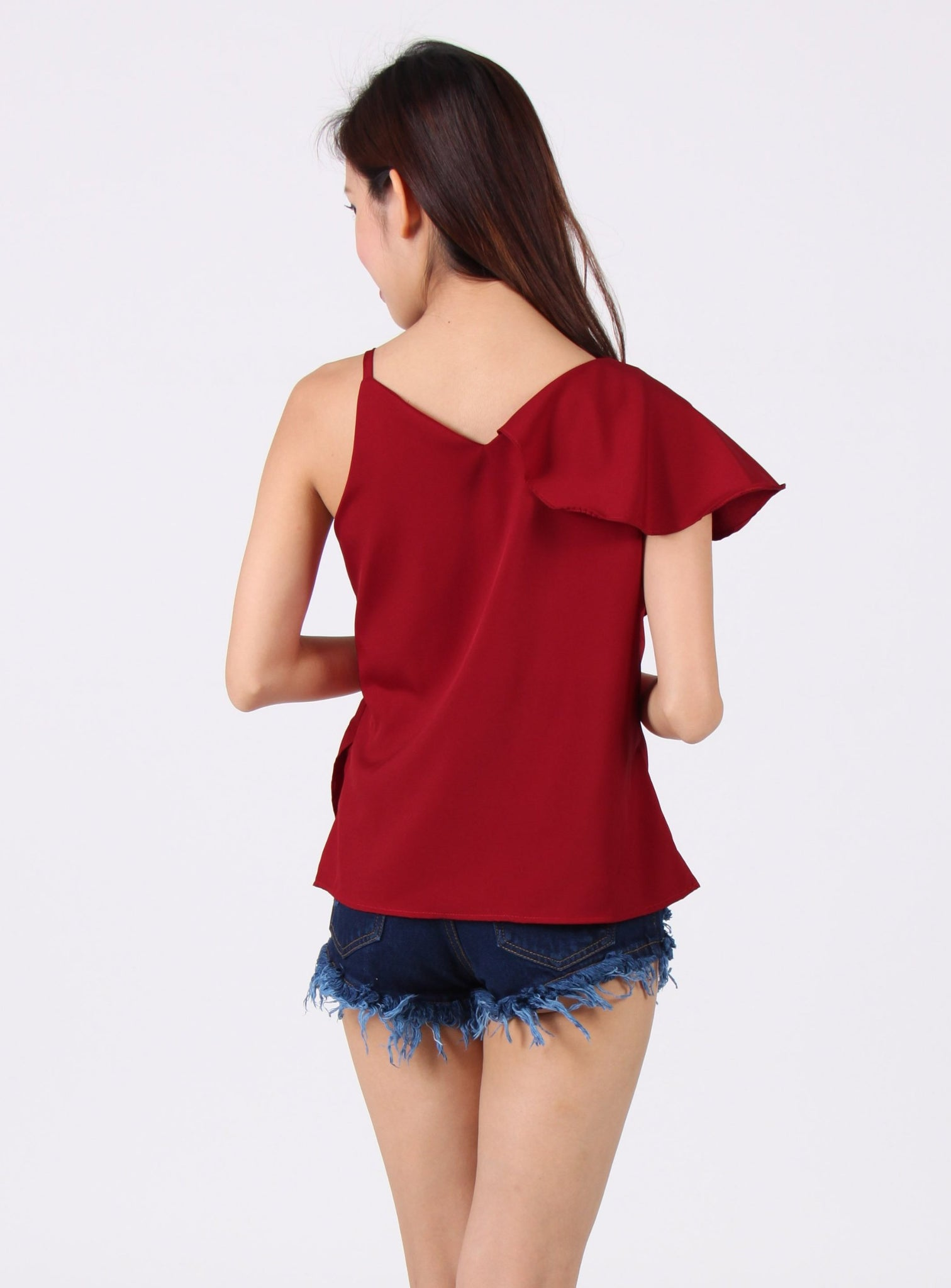 Toga Spag Ruffles Top in Maroon
