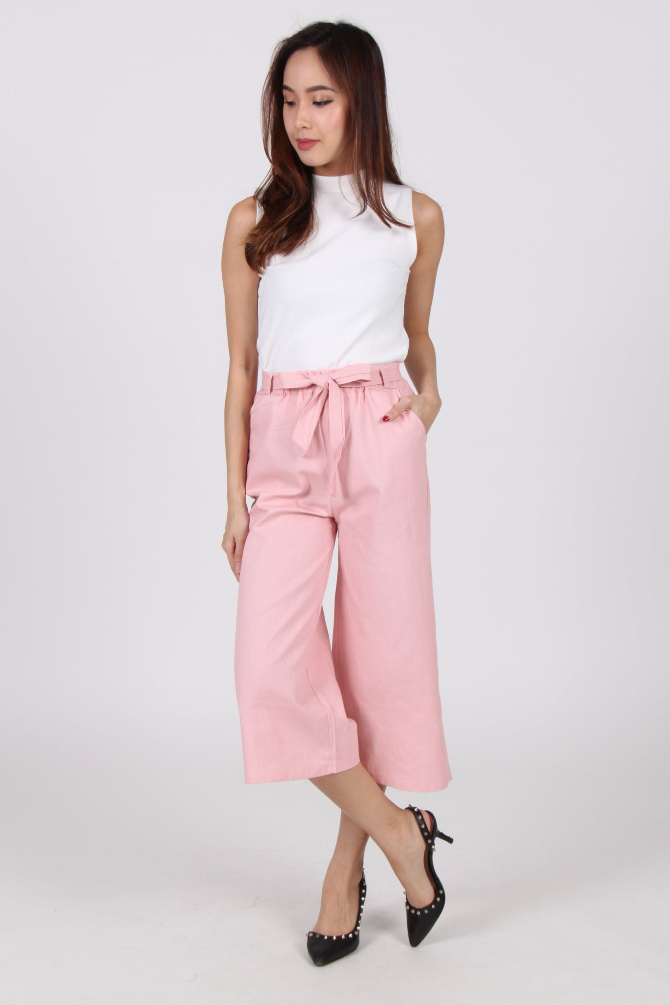 Ribbon Culottes In Pink