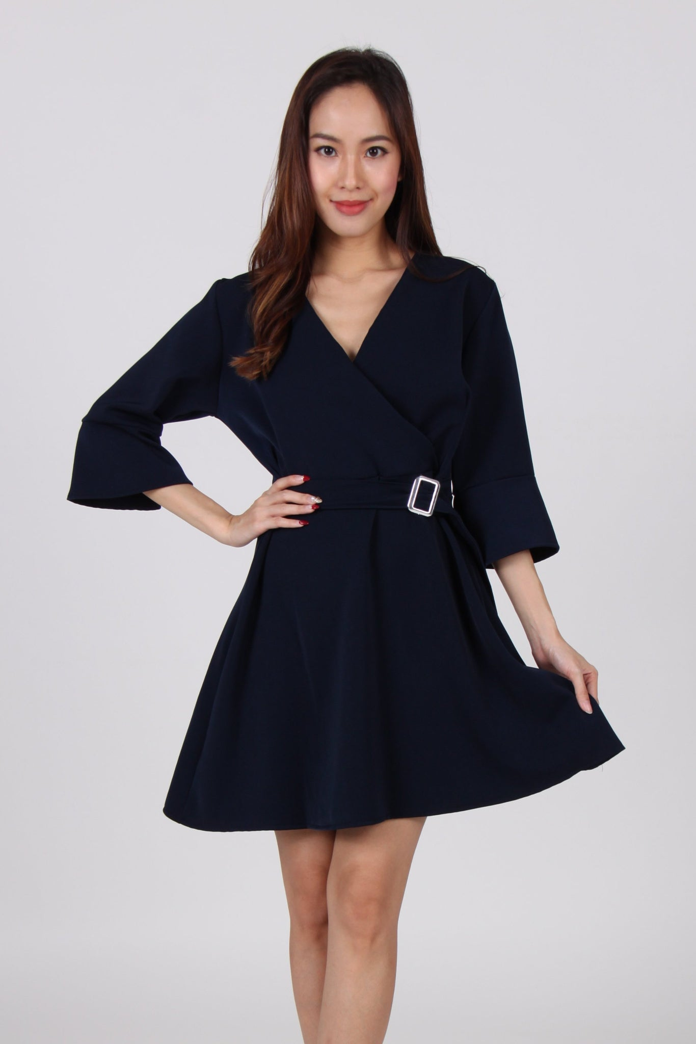 Buckle Overlap Bell Sleeve Skater Dress in Navy Blue