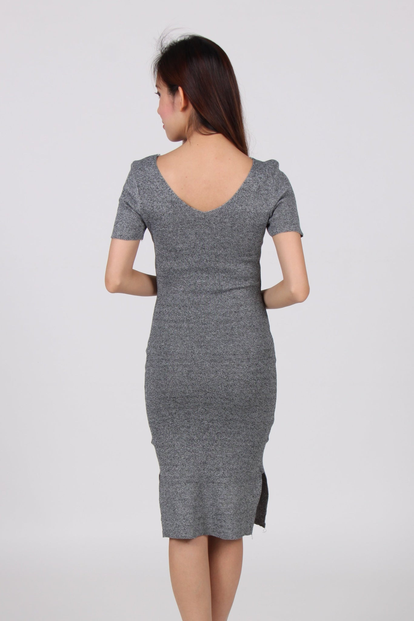 V Neck Side Slit Bodycon Dress in Light Grey