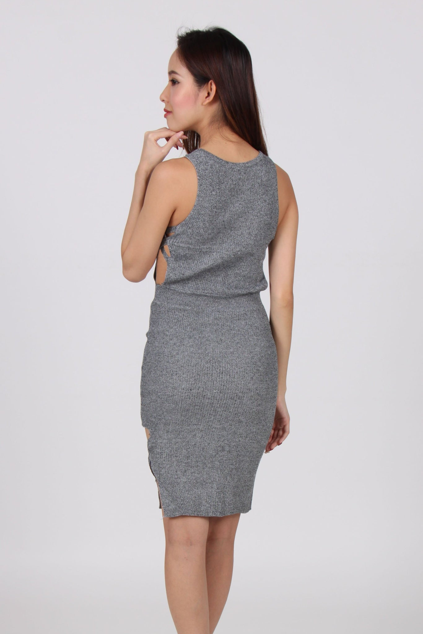 Side Cut-Out With Side Slit Bodycon Dress in Light Grey
