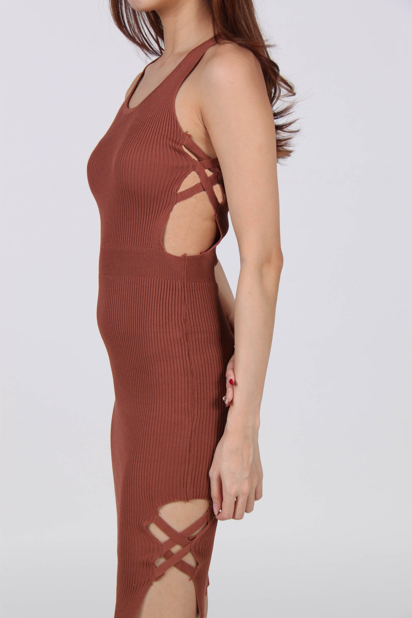 Side Cut-Out With Side Slit Bodycon Dress in Copper Brown