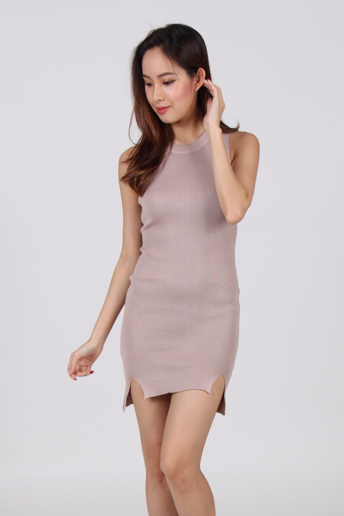 Sleeveless Cut-Out Hem Bodycon Dress in Beige