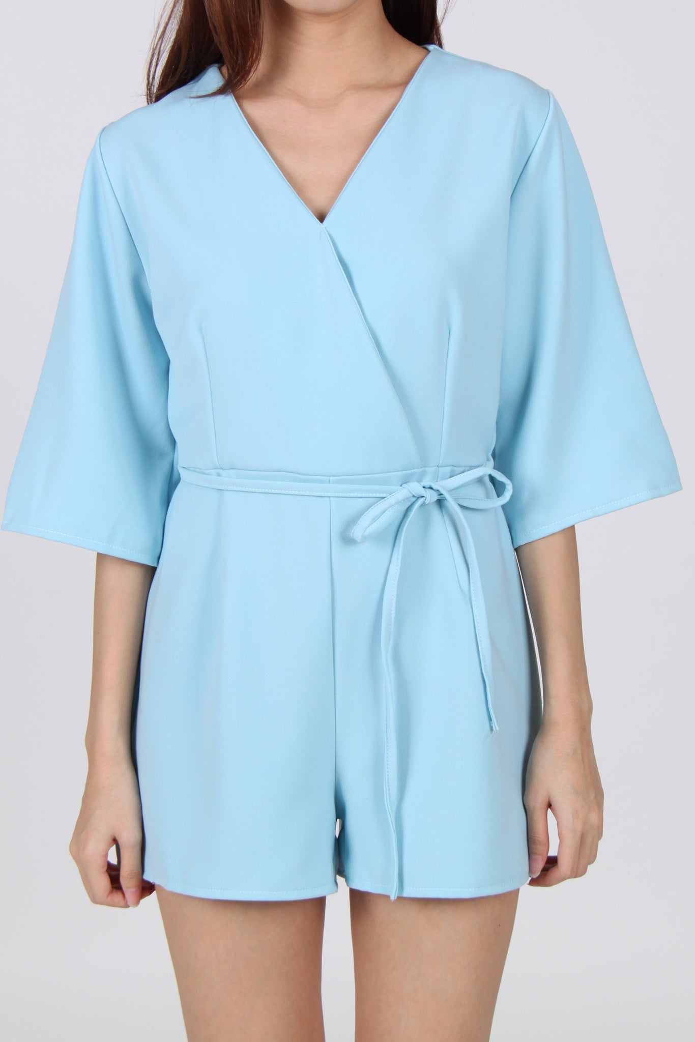 Wrap Quarter Sleeve Romper in Light Blue
