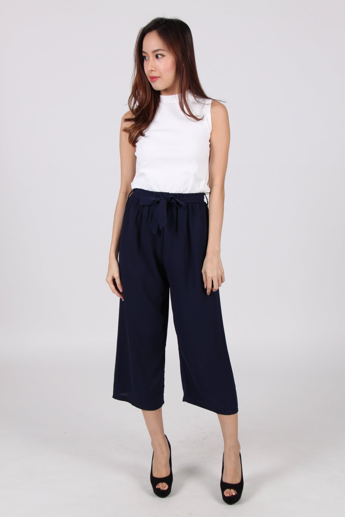 Chiffon Ribbon Culottes In Navy Blue