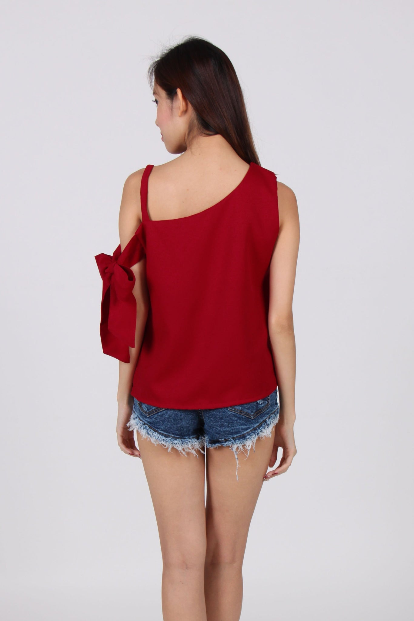 Toga Spag Side Ribbon Top in Maroon