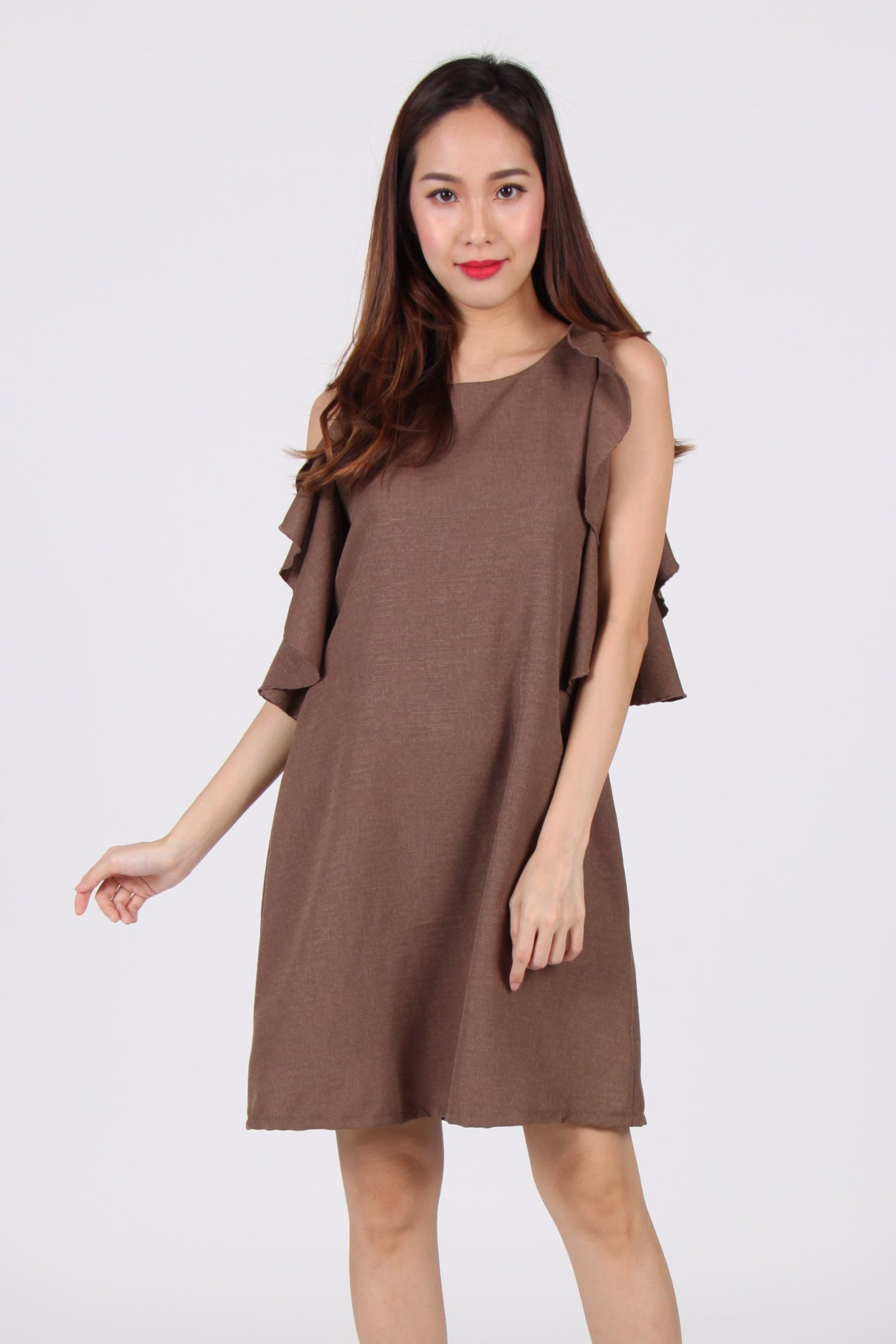 Wide Ruffles Sleeve Shift Dress in Brown