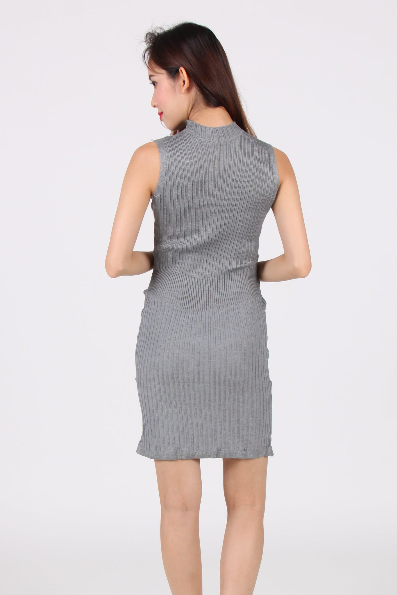 Sleeveless Vertical Bar Bodycon Dress in Light Grey