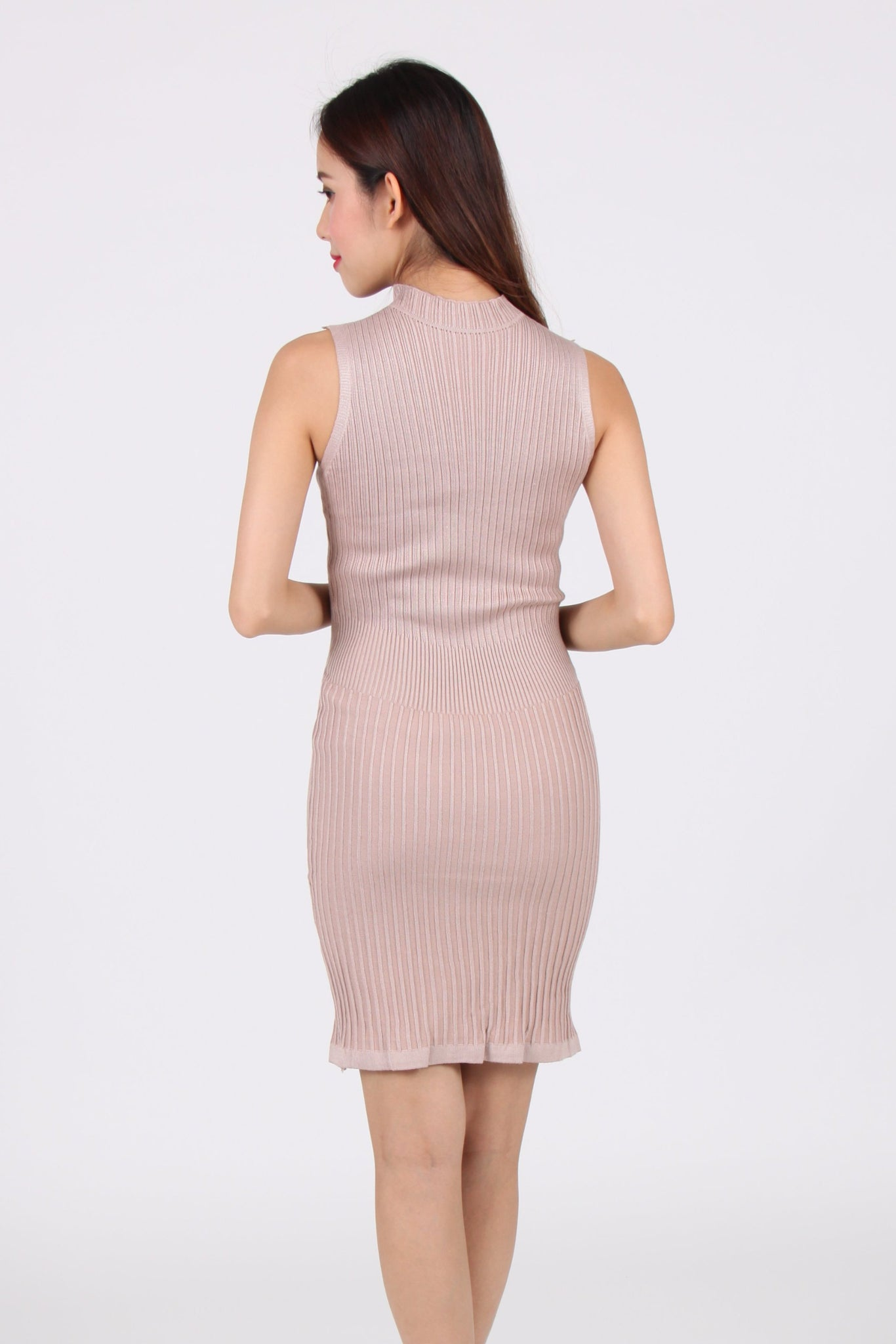 Sleeveless Vertical Bar Bodycon Dress in Beige