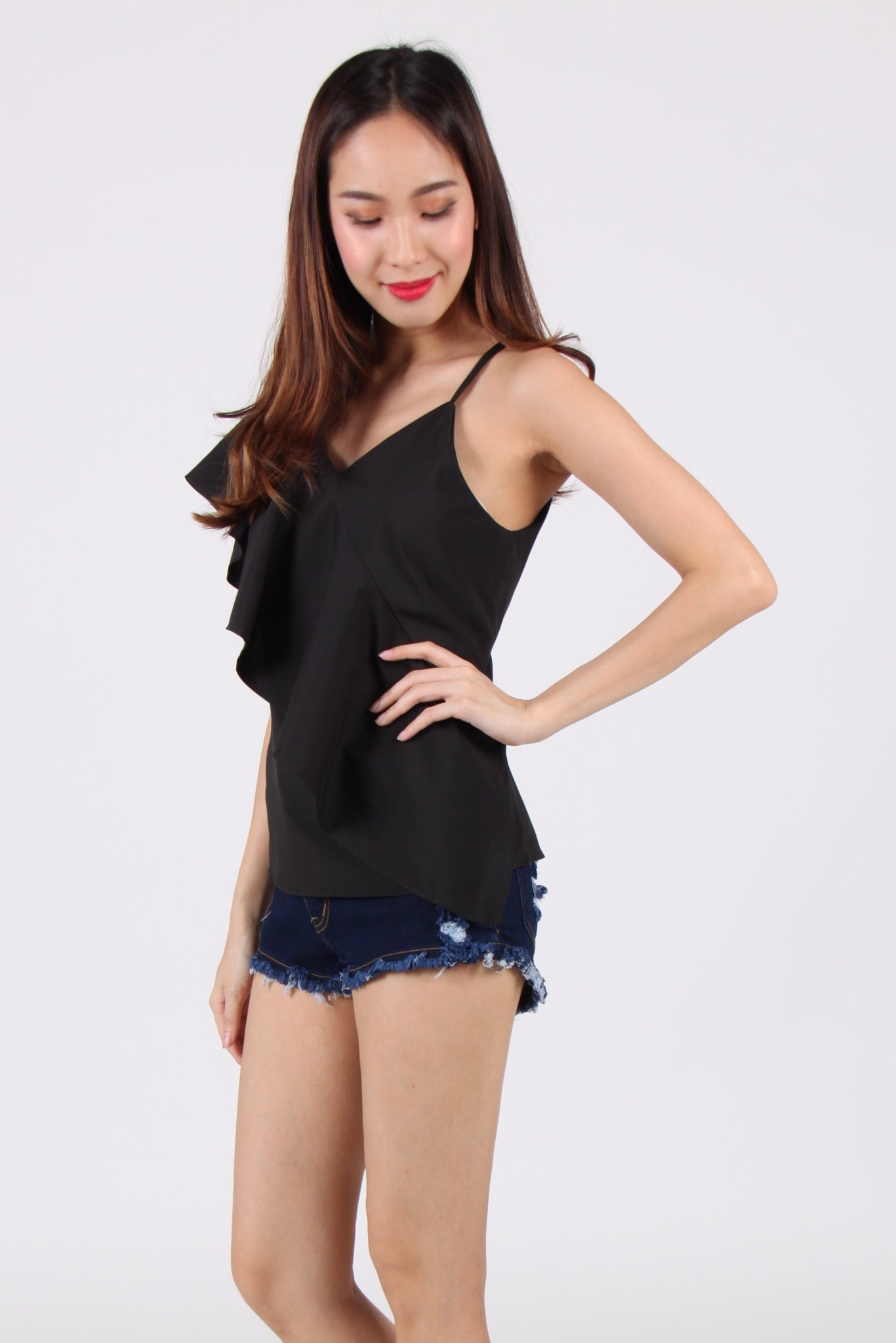 Toga Spag Ruffles Top in Black
