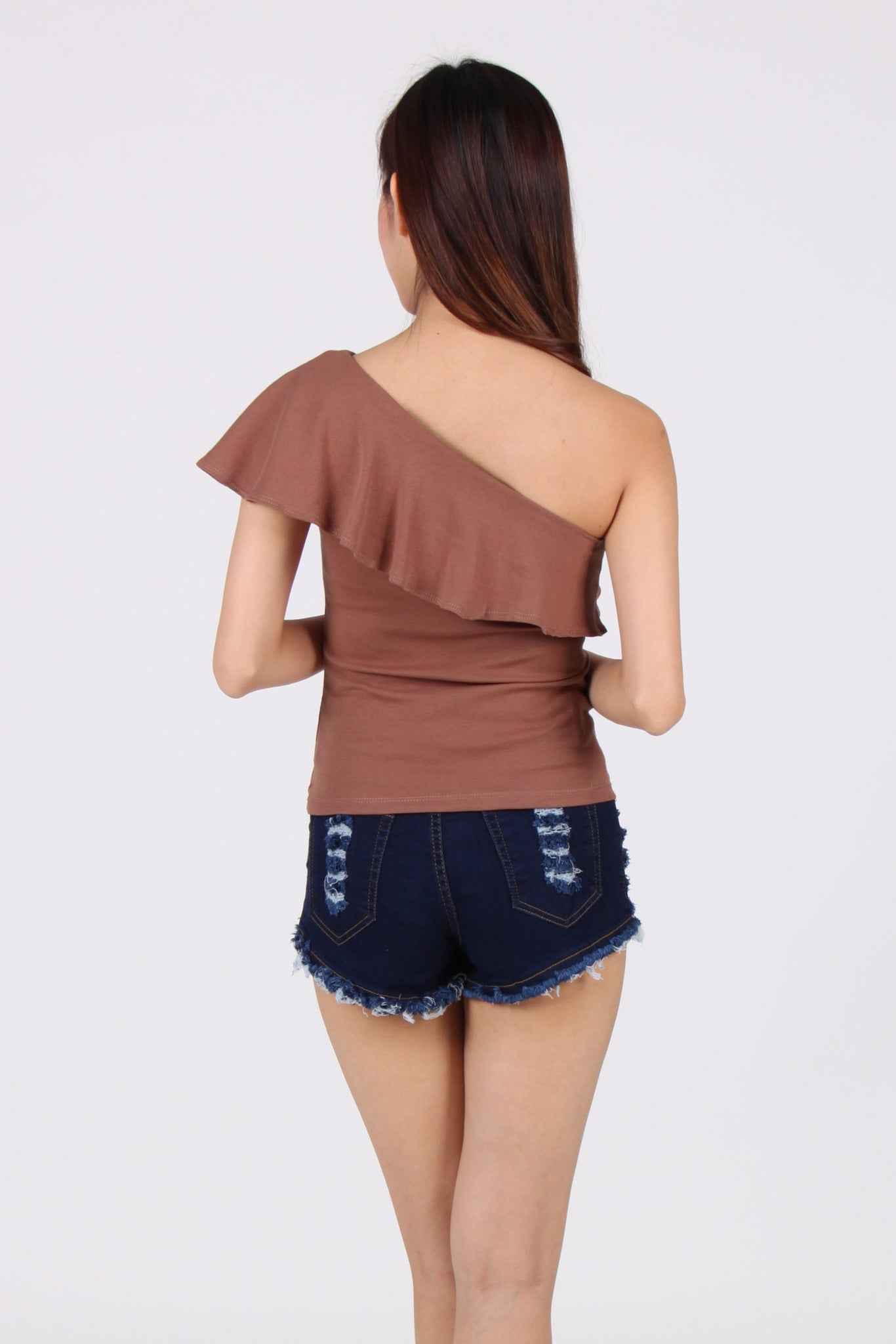 Ruffles Toga Top in Copper Brown