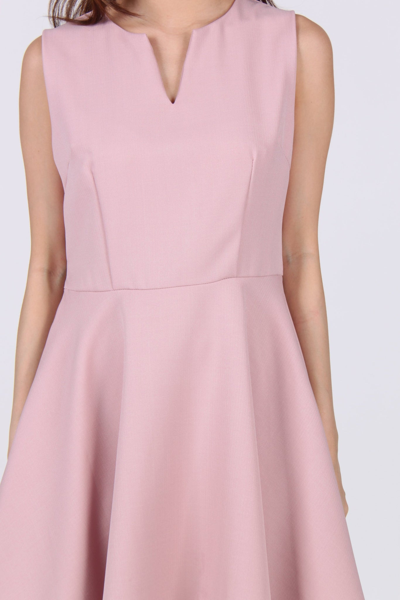 V Collar Sleeveless Skater Dress in Pink
