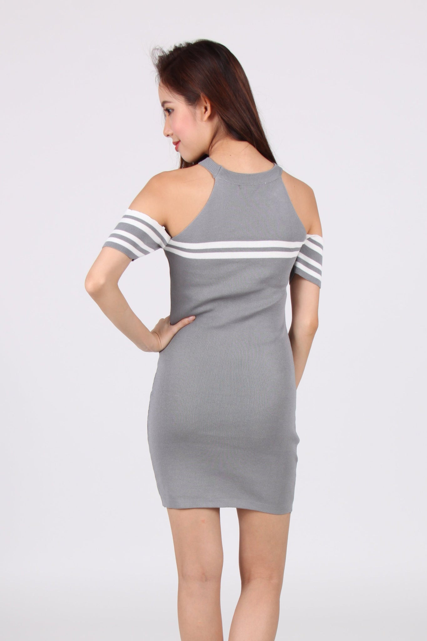 Contrast Stripes Drop Shoulder Bodycon Dress in Light Grey