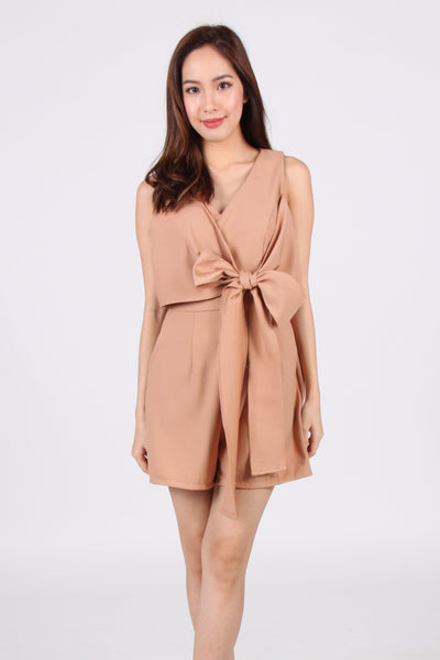 Sleeveless Front Tie Romper in Beige
