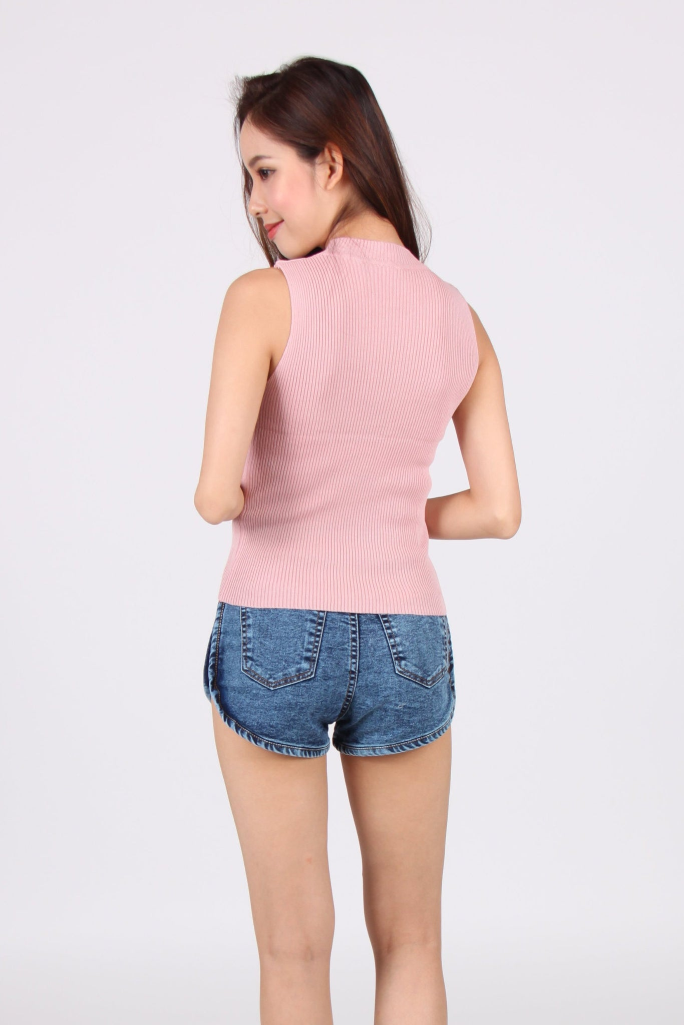 Front Ruffles Down Sleeveless Knit Top in Pink