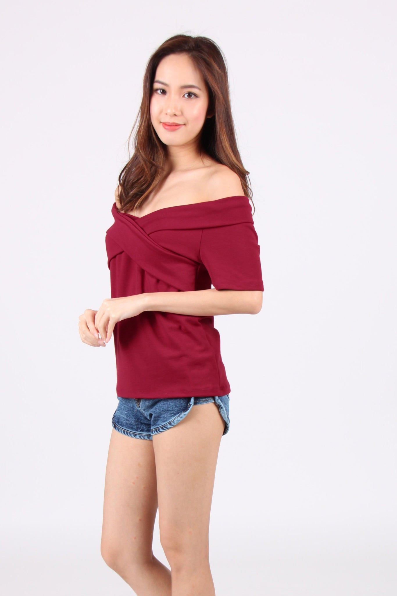 Cross Off Shoulder Top in Maroon