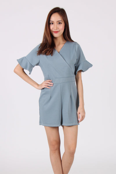 Trumpet Sleeves Wrap Romper in Blue