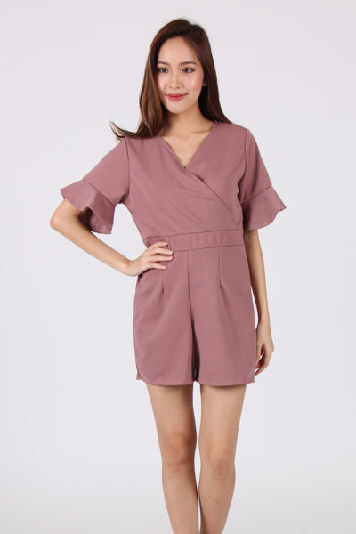 Trumpet Sleeves Wrap Romper in Dessert Taupe