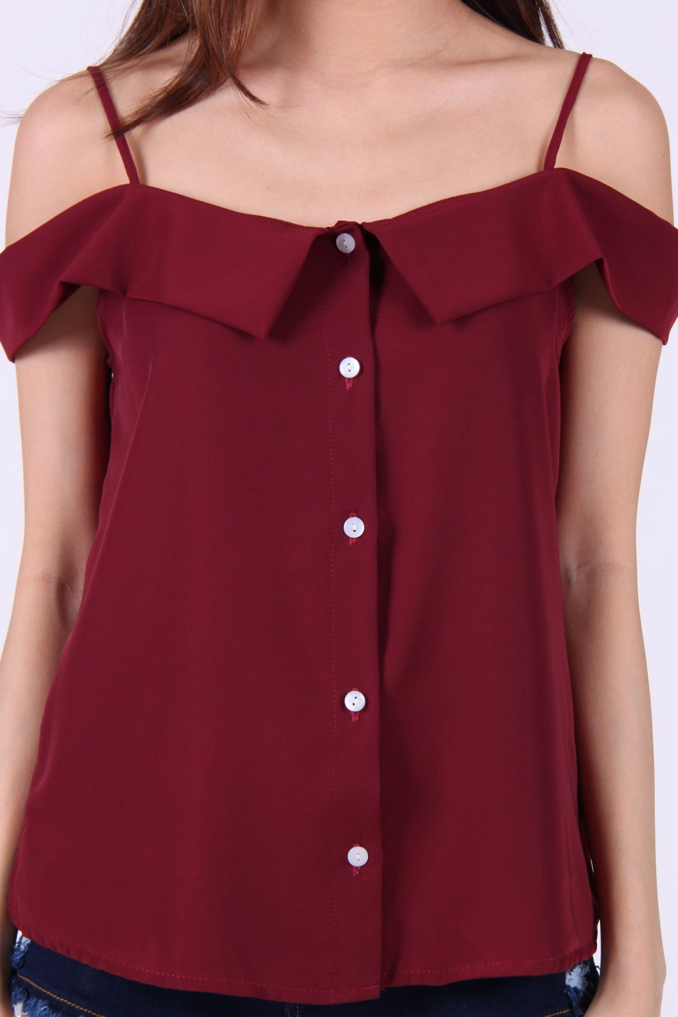 Button Cold-Shoulder Spag Top in Maroon