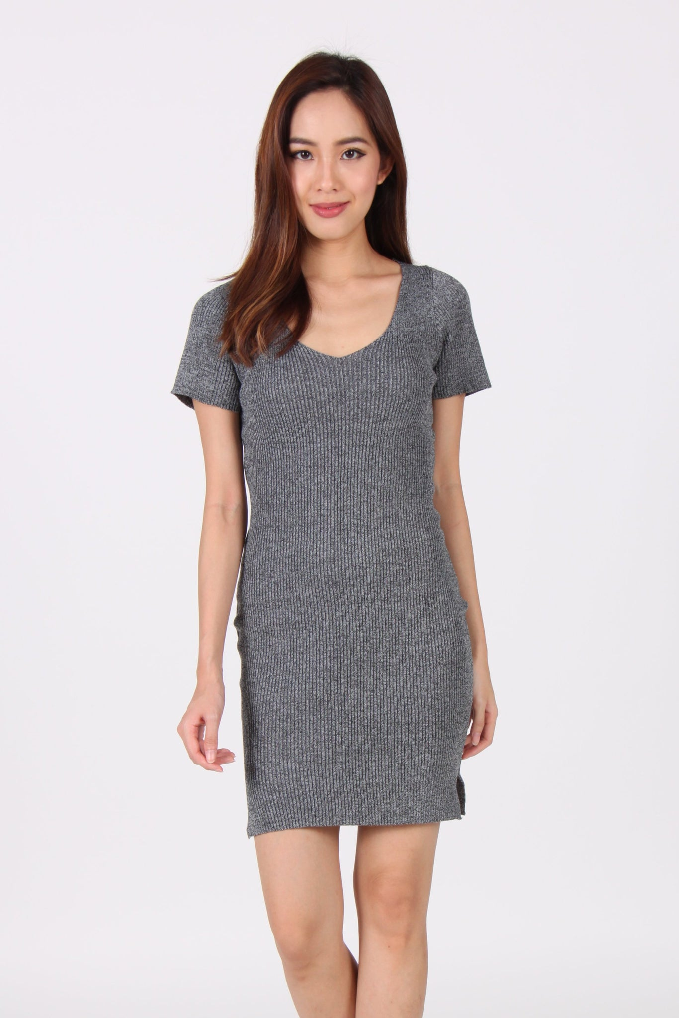 Sleeve V Neck Side Slit Bodycon Dress in Grey