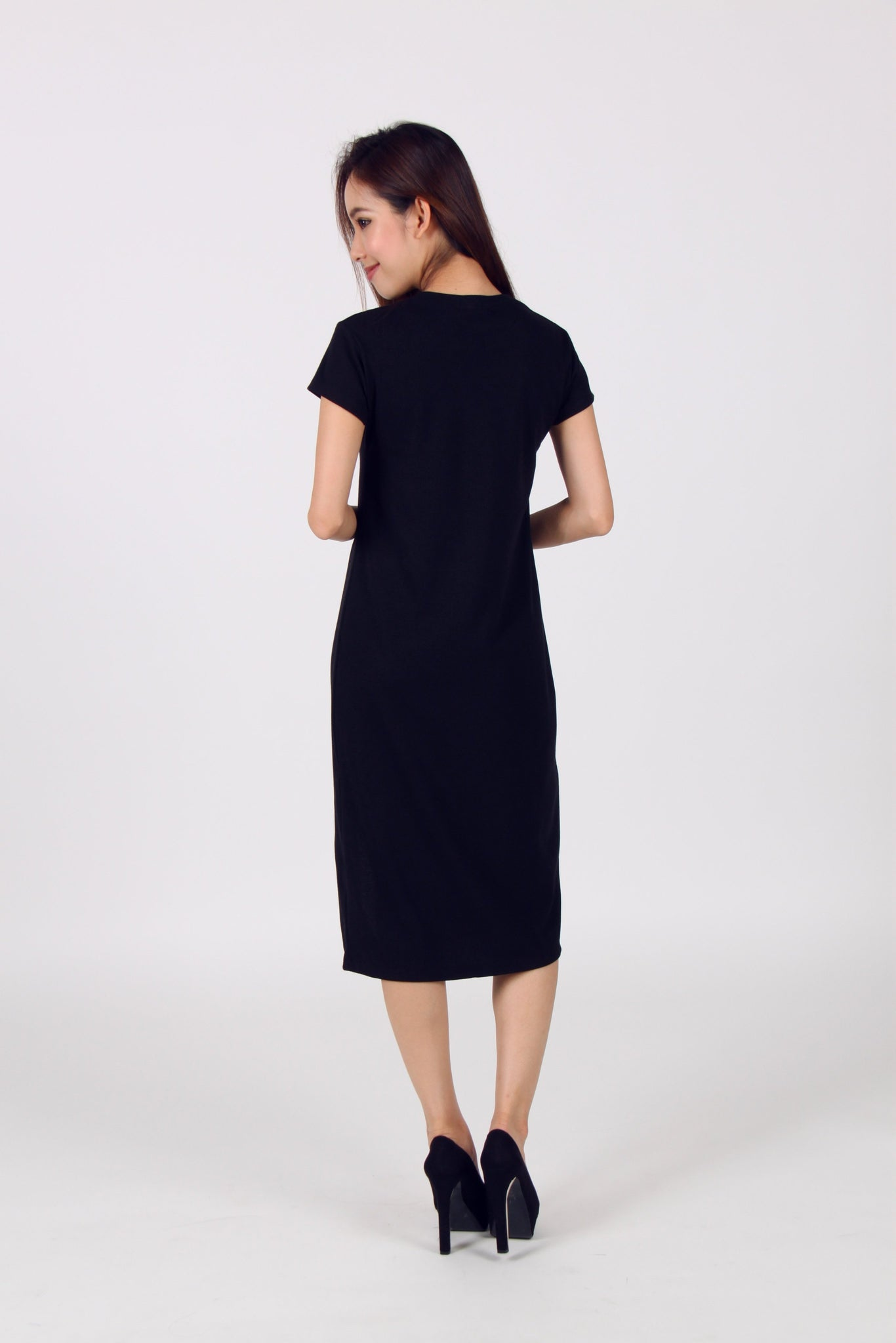 Cap Sleeve Front Slit Midi Tee Dress in Navy Blue