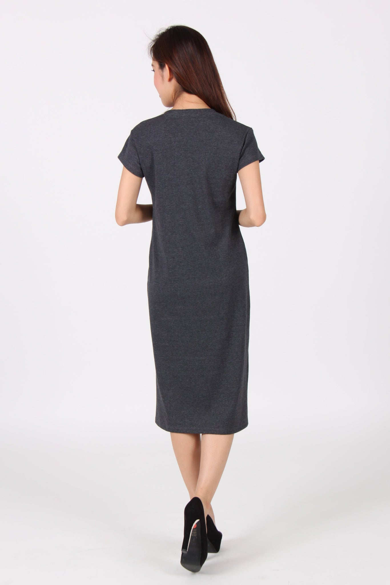 Cap Sleeve Front Slit Midi Tee Dress in Dark Grey