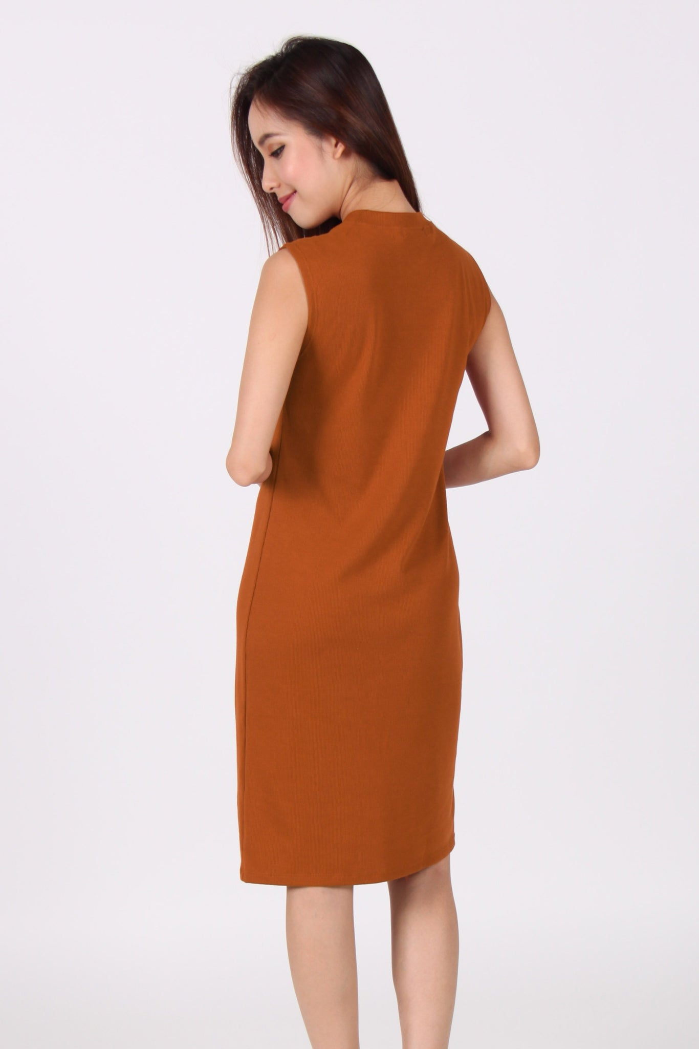 Sleeveless Front Slit Midi Dress in Orange Brown