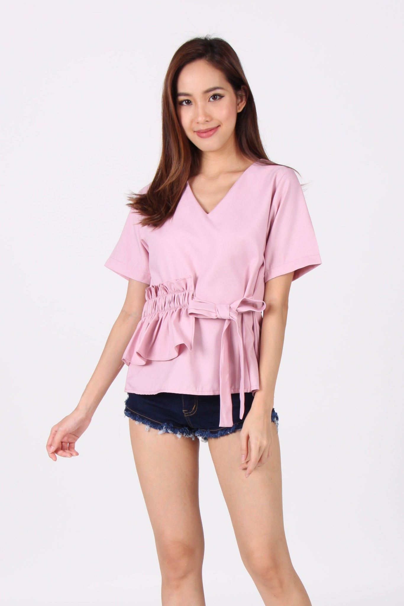 Sleeve V Neck Side Smocked Top In Lilac